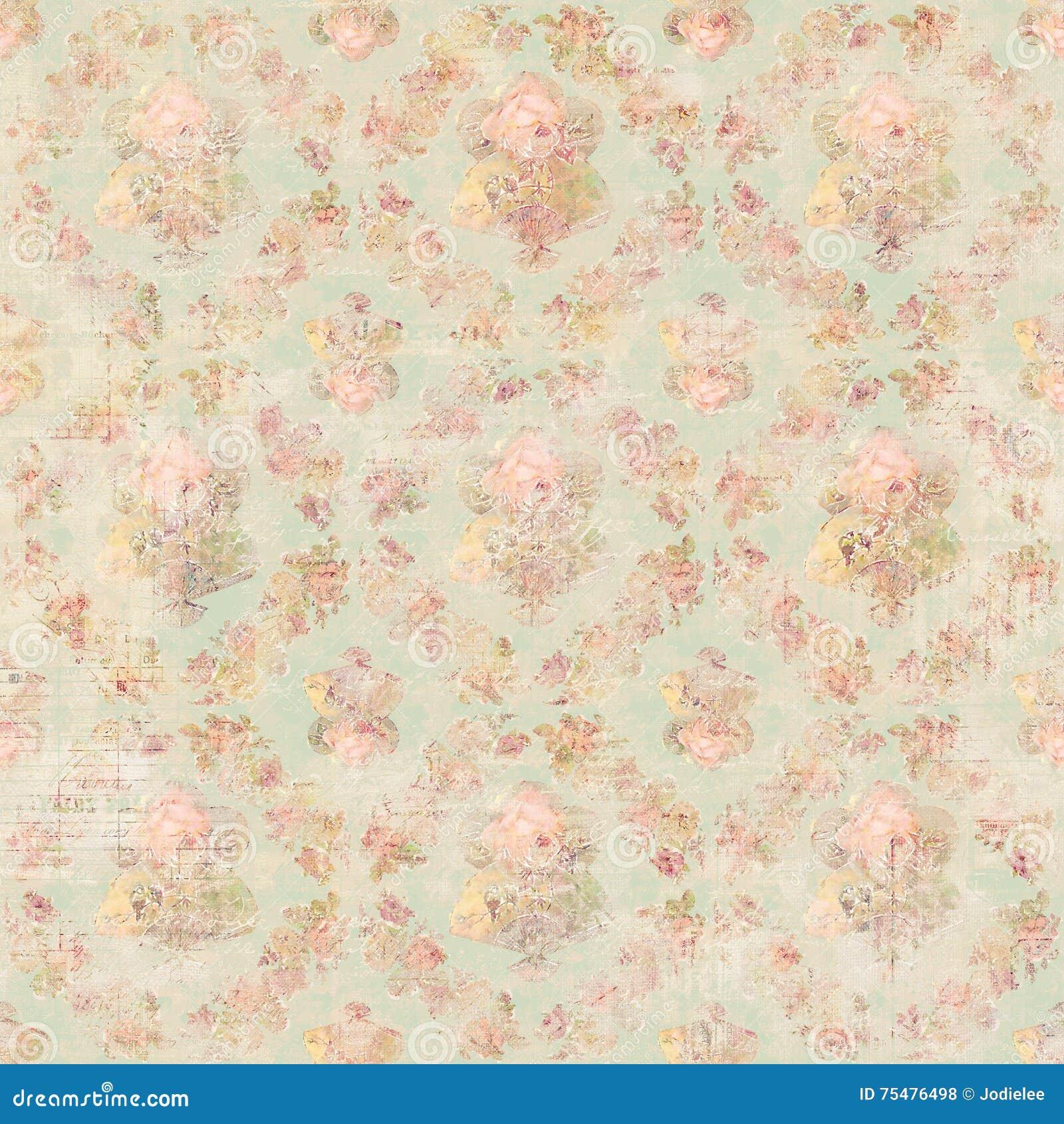 De antieke Uitstekende achtergrond van stijl botanische roze bloemenrozen