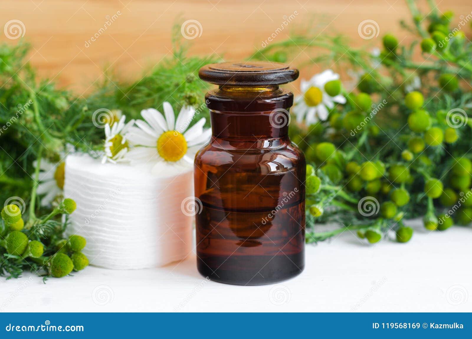 De apotheekfles met kosmetisch/het reinigen/het helen de wilde olie van het kamillearoma of de tint en de katoenen stootkussens v