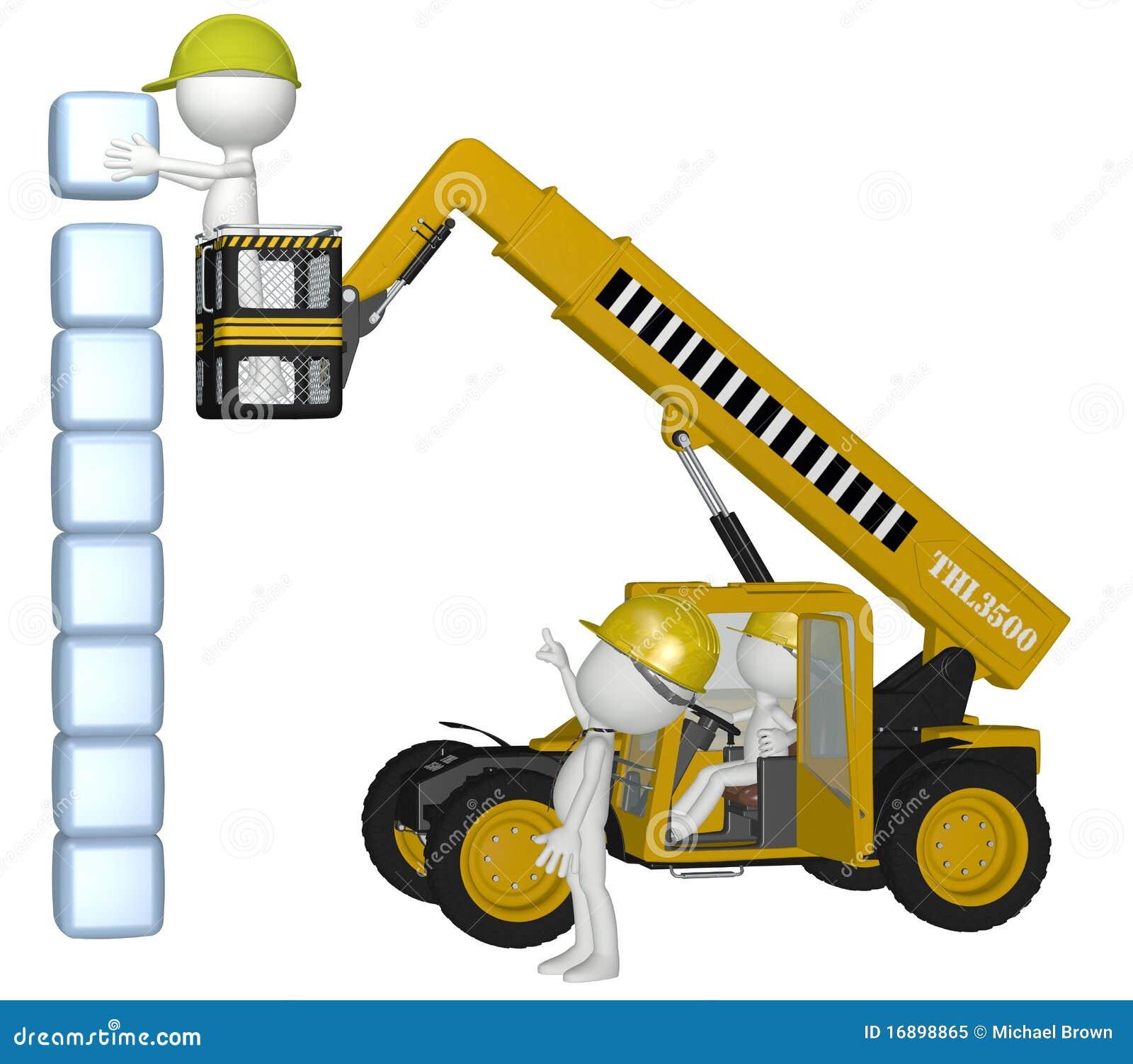 De apparatuur van de bouw mensen die kubussenstapel bouwen