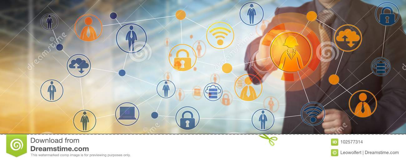 De Arbeider van managerconnecting with female in Netwerk