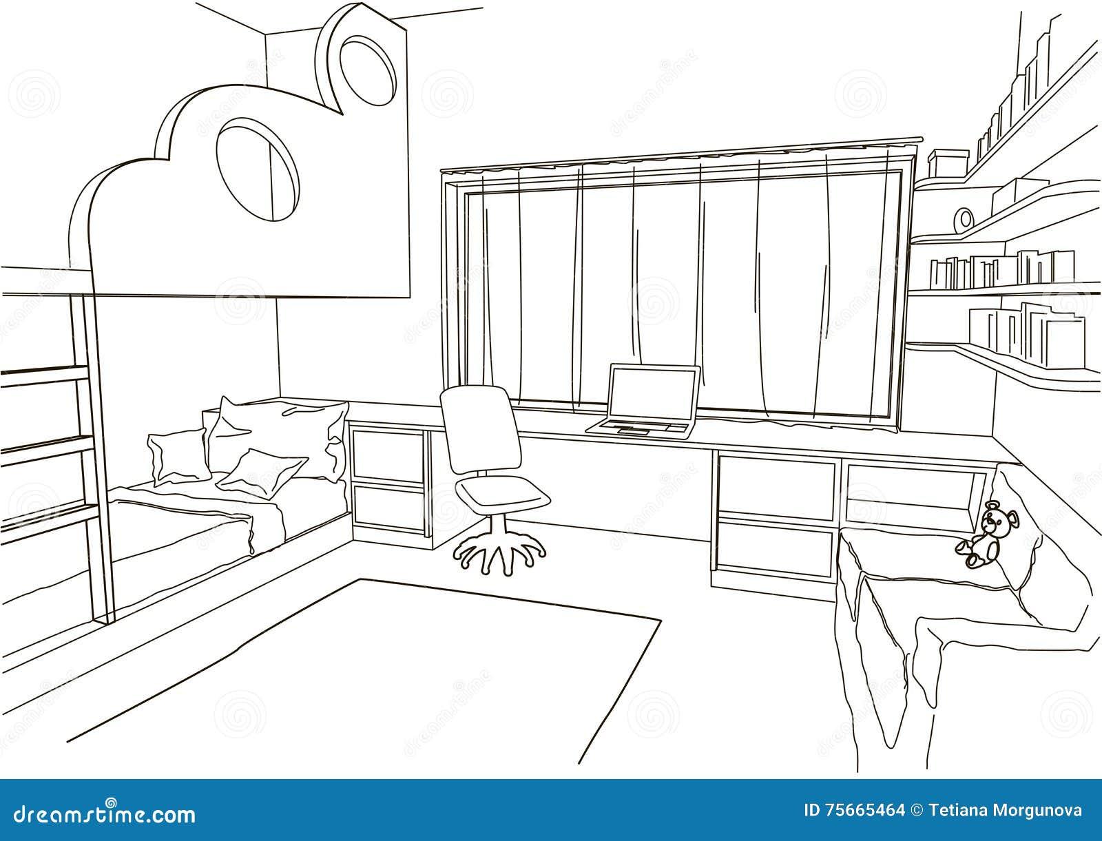 De architecturale ruimte van het schetskind vector illustratie afbeelding 75665464 - Ruimte van het meisje parket ...