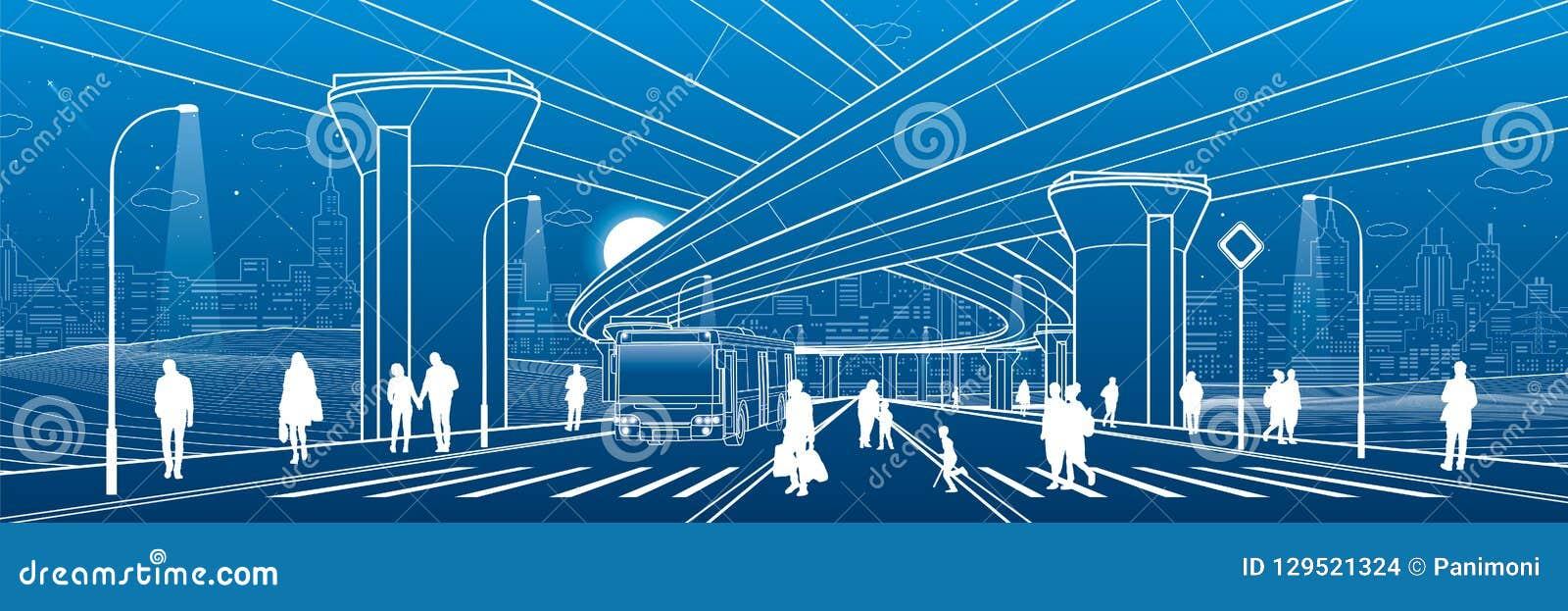 De architectuur van de stad Infrastructuurillustratie, vervoerviaduct, grote brug, stedelijke scène Busbeweging Mensen die bij st