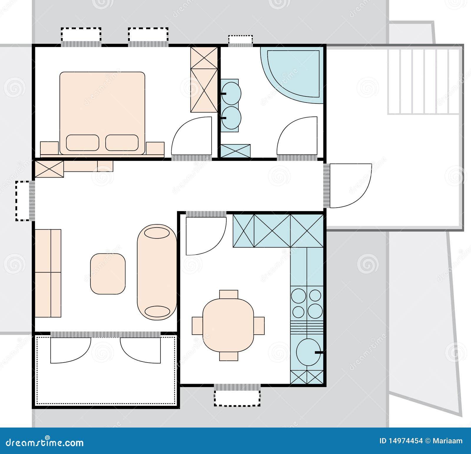 de architectuurplan van de flat stock afbeeldingen. Black Bedroom Furniture Sets. Home Design Ideas