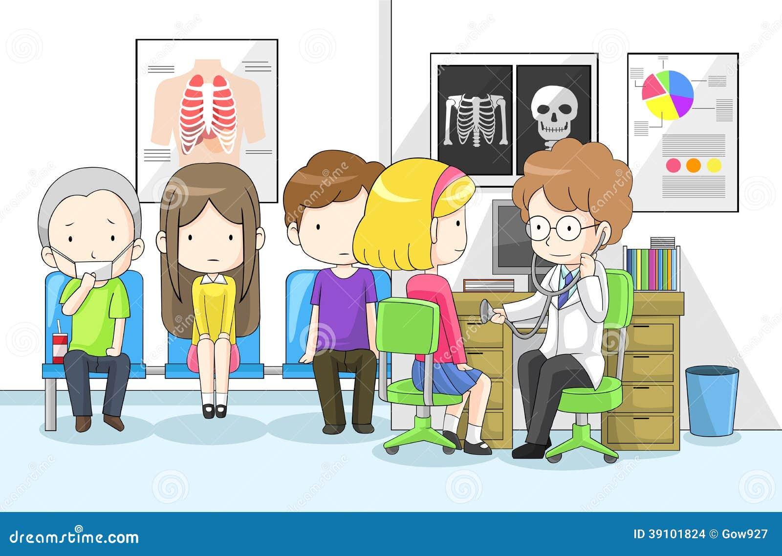 De arts onderzoekt groep kinderen met stethoscoop
