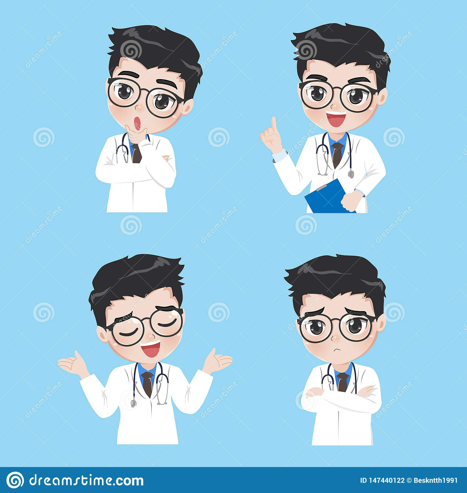 De arts toont een verscheidenheid van gebaren en acties in het werkkleren