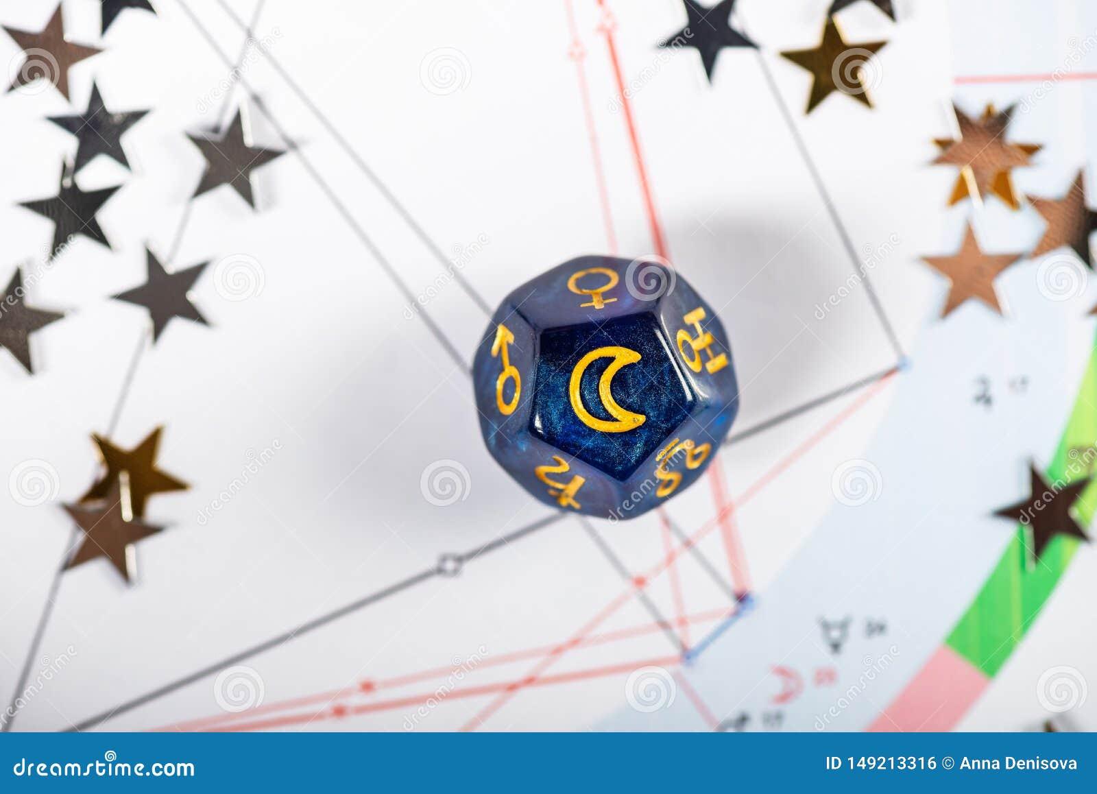 De astrologie dobbelt met symbool van de Maan