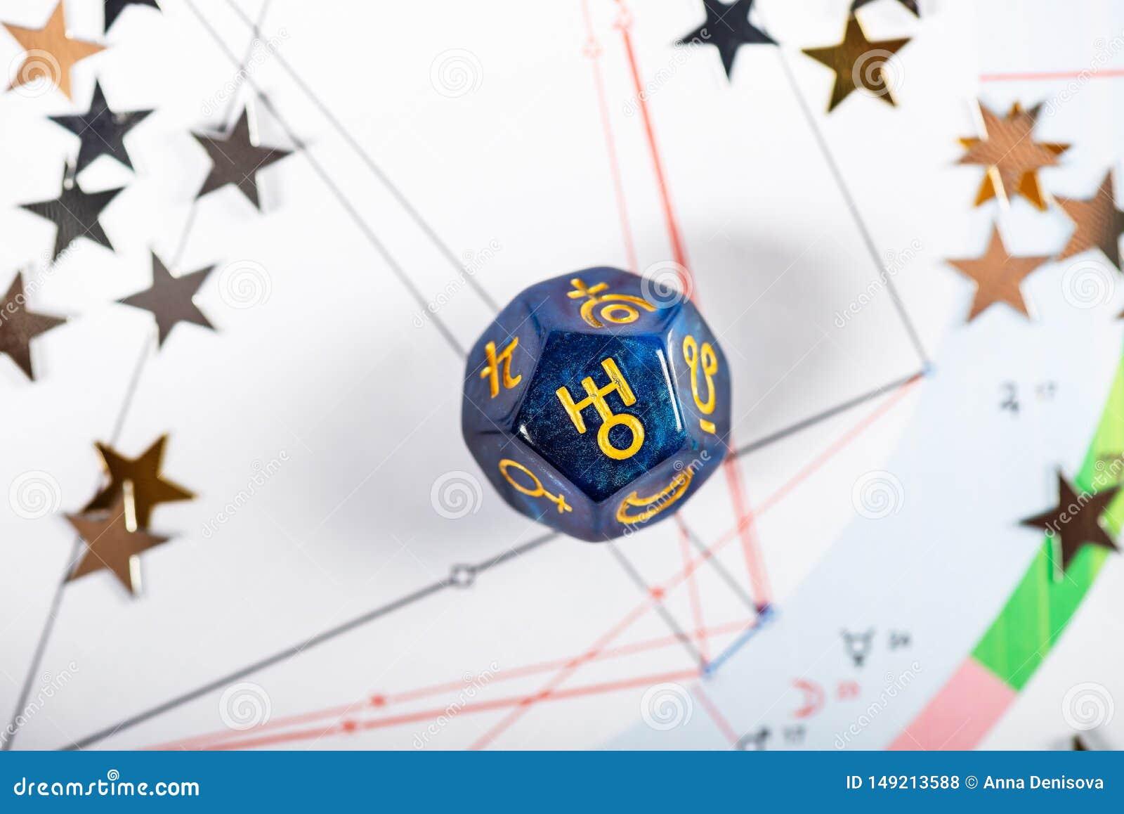 De astrologie dobbelt met symbool van de planeet Uranus