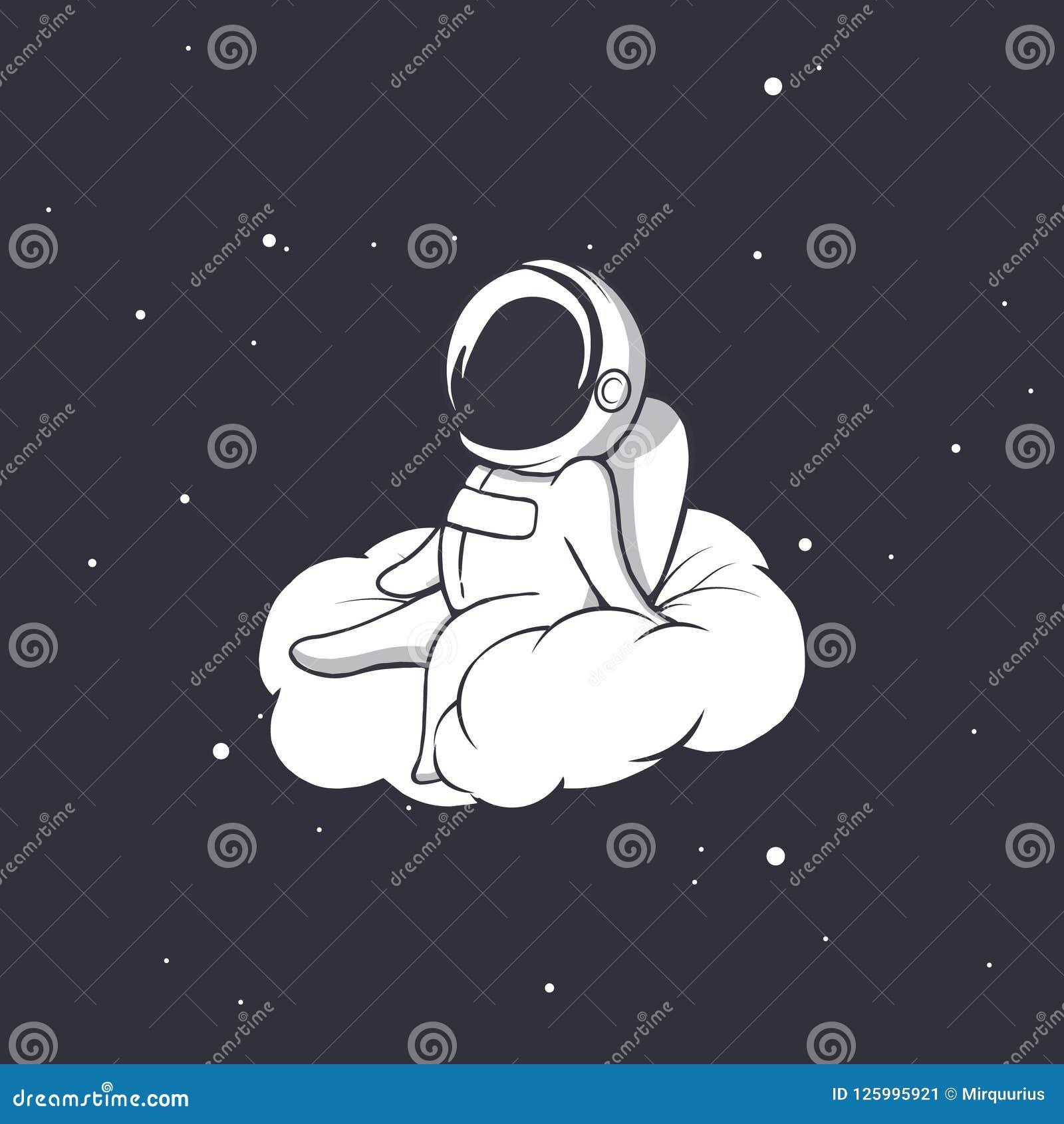 De astronaut zit op wolk