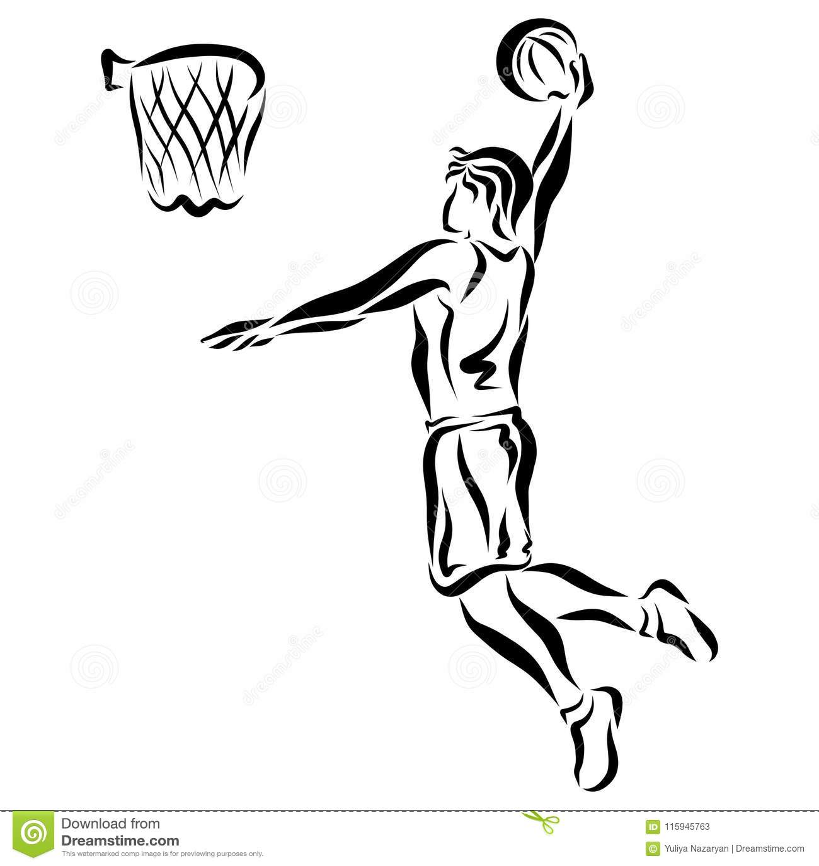 De atleet werpt de bal in de mand
