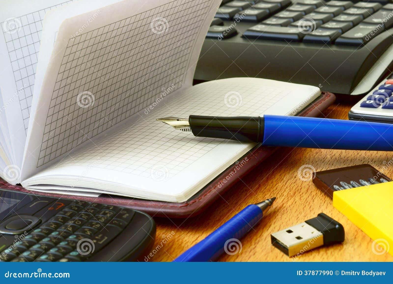 De atmosfeer van het bureauwerk, materiaal