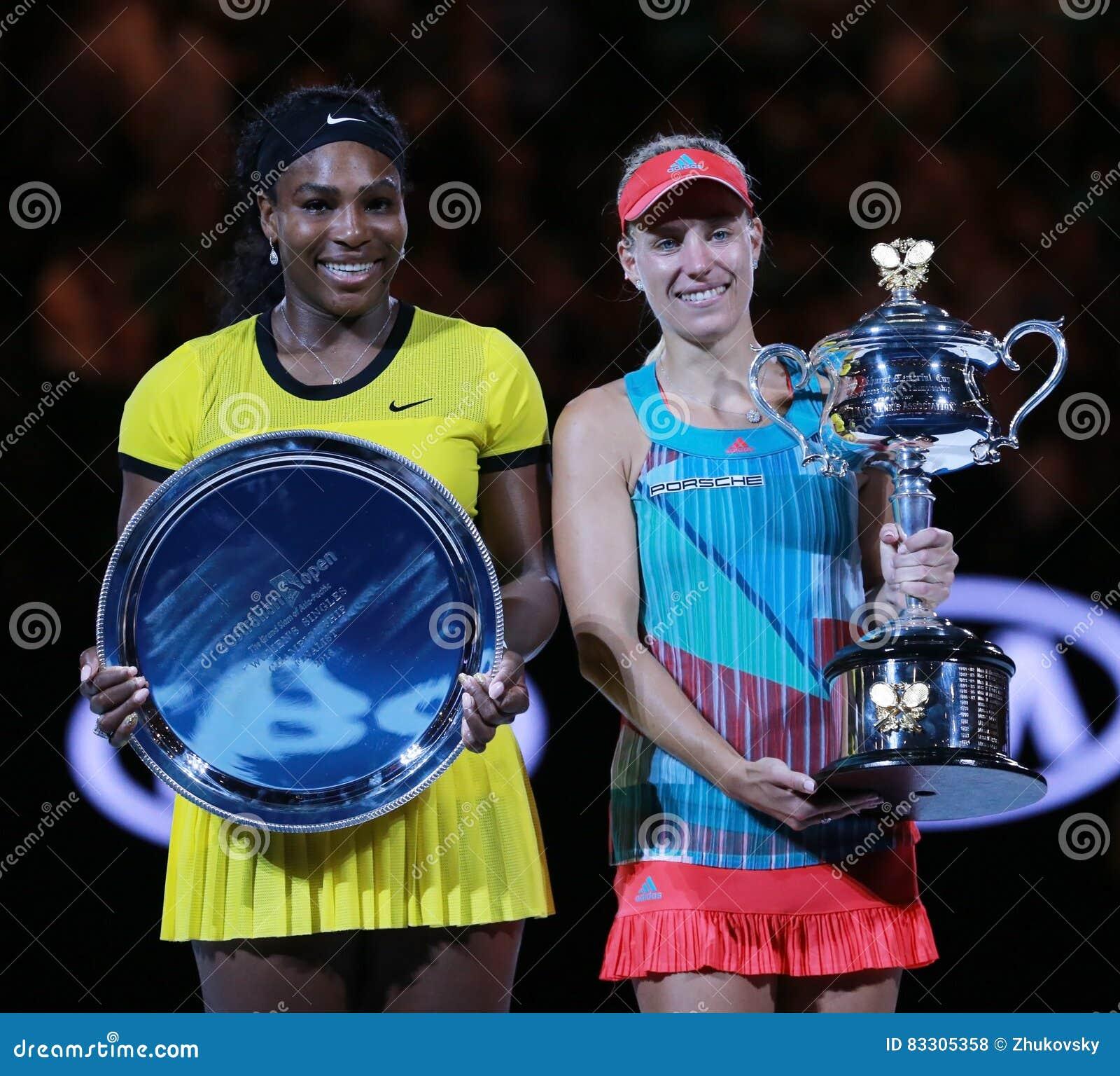 De Australian Open 2016 finalist Serena Williams L en de Grote Slag verdedigen Angelique Kerber van Duitsland tijdens trofeeprese