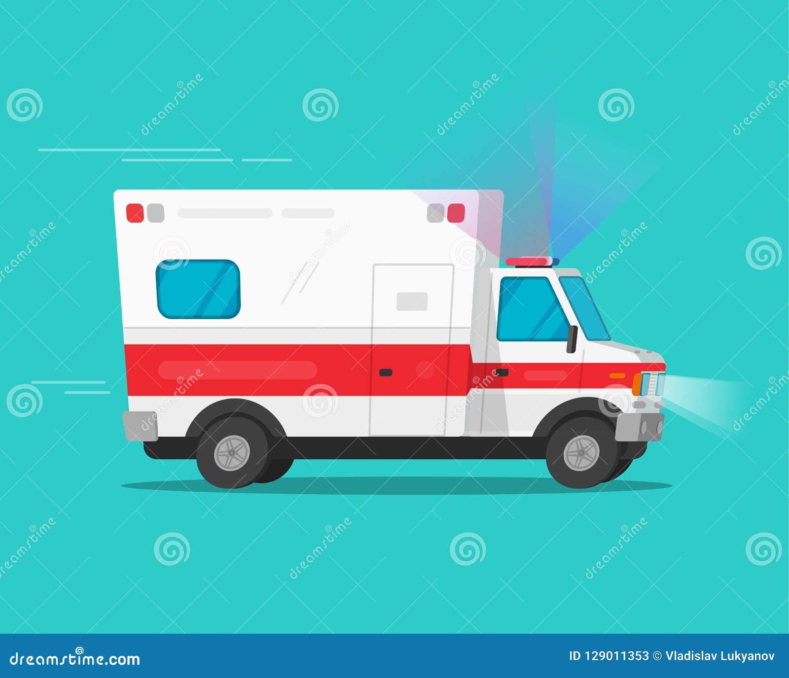 De auto die van de ziekenwagennoodsituatie snelle vectorillustratie, de vlakke auto van het beeldverhaal grappige medische voertu