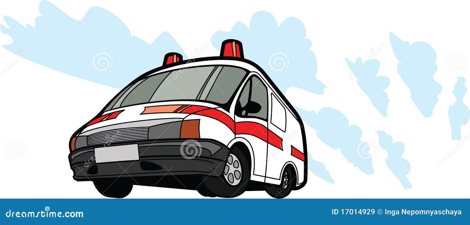 De auto van de ziekenwagen in motie