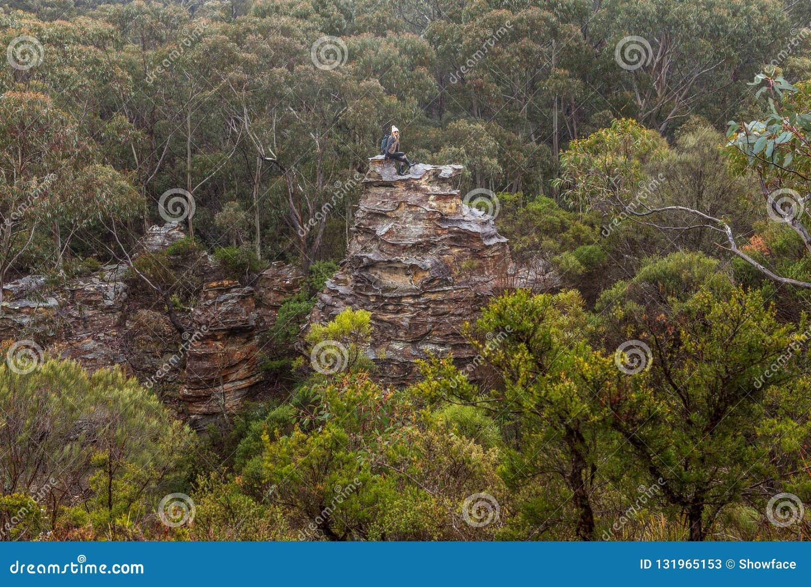 De avontuurlijke vrouwelijke wandelaar beklom omhoog op rotsachtige toren in berg bushland