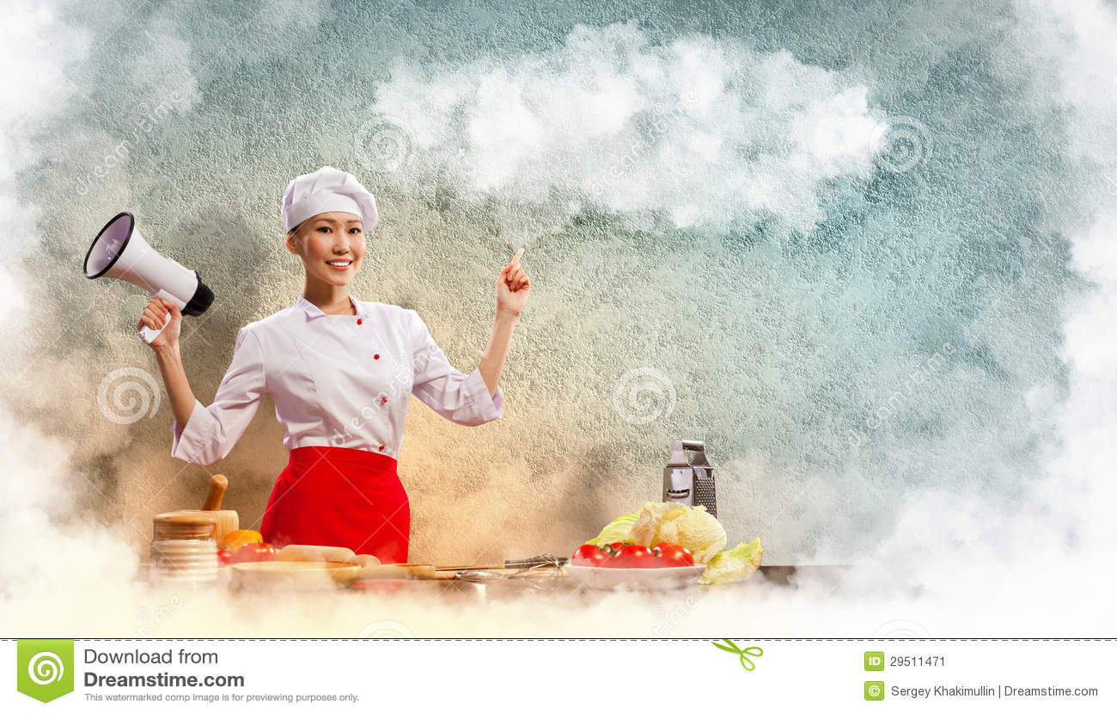 De Aziatische vrouwelijke megafoon van de kokholding