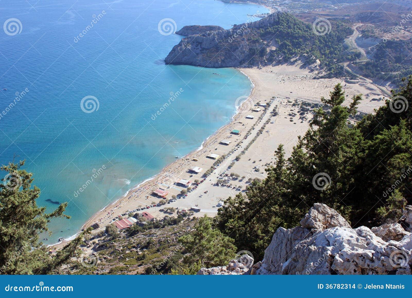 De baai van Agiatsimbika, het eiland van Rhodos
