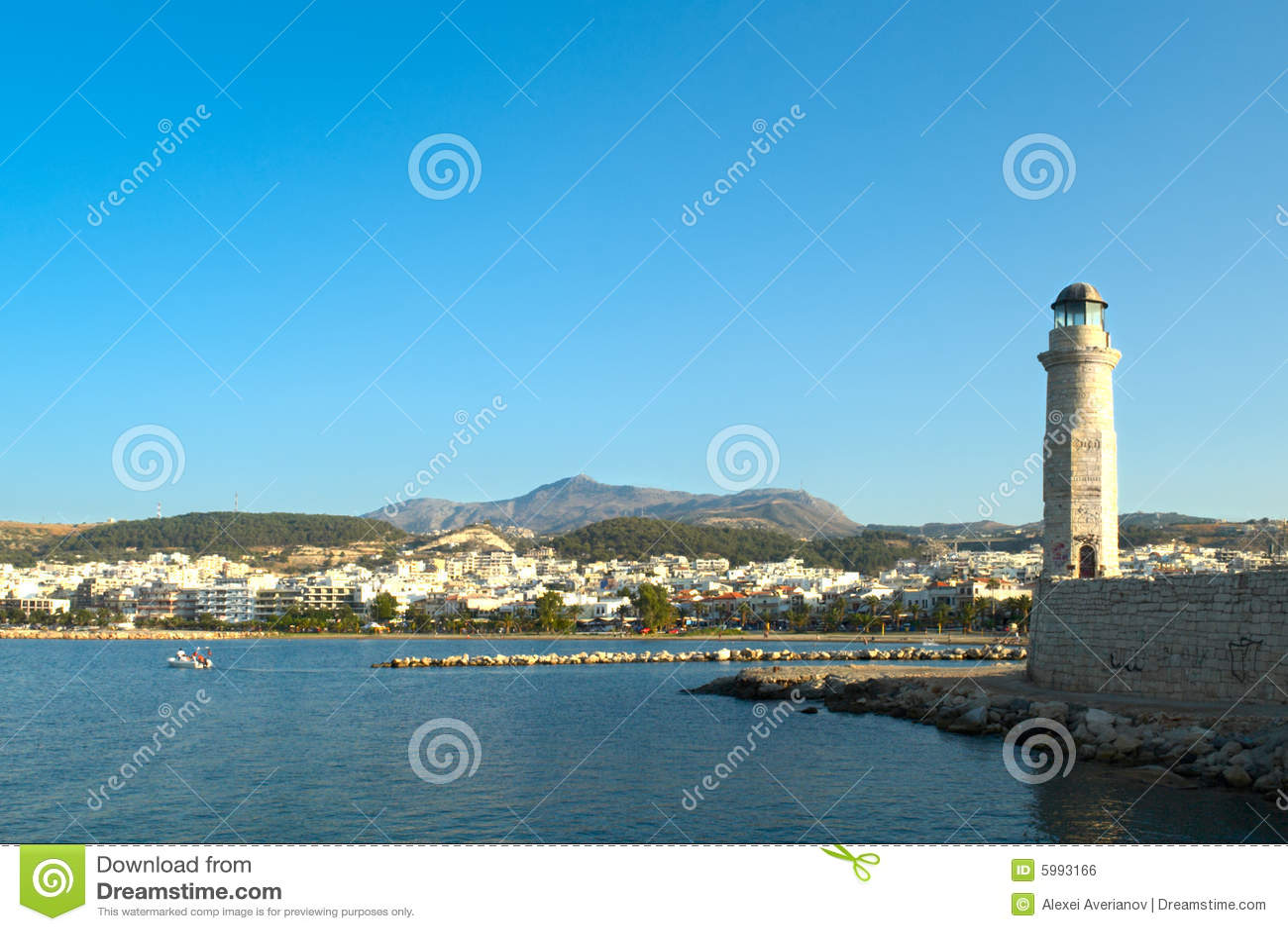 De baai van Rethymno. Kreta.