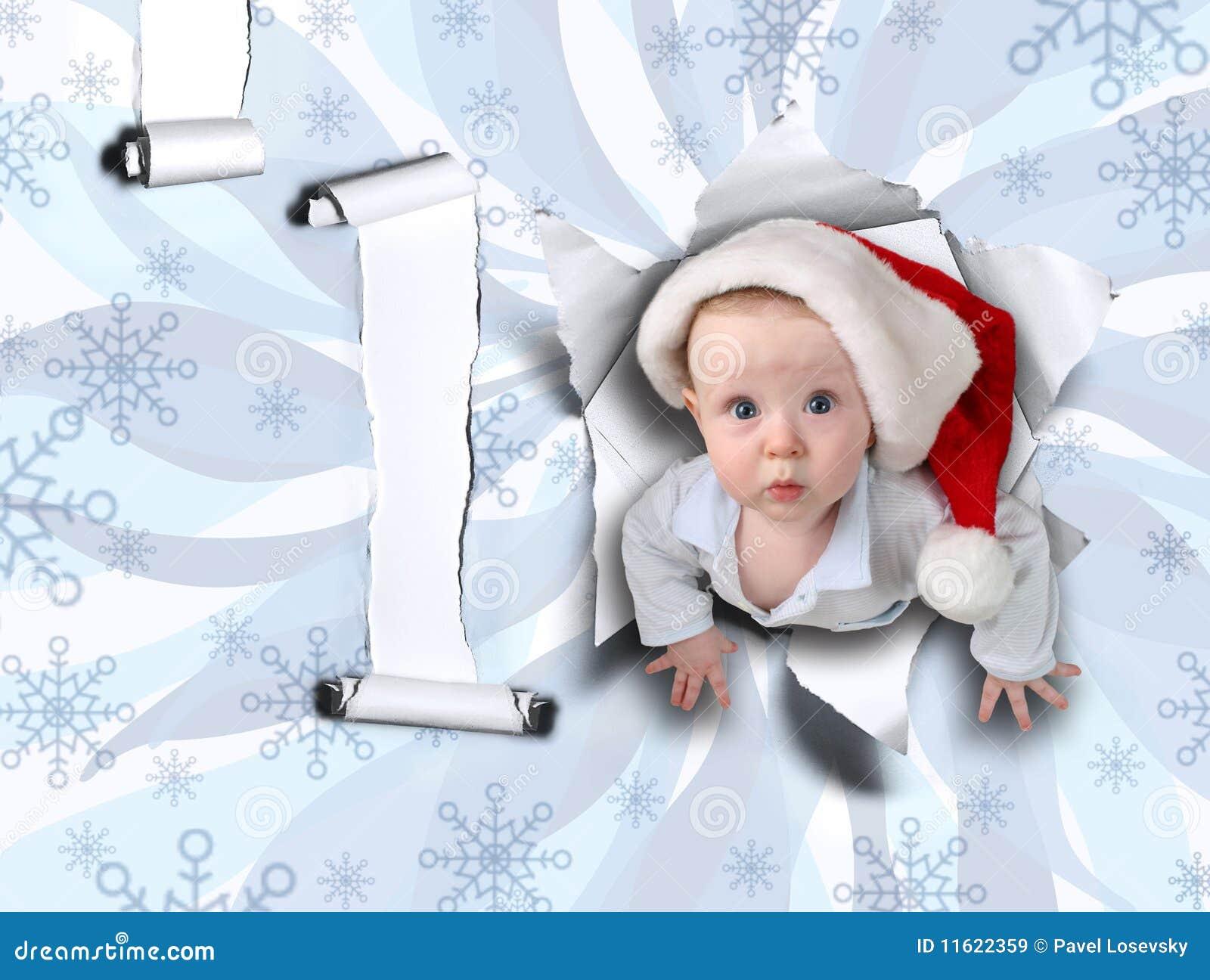 De baby van Kerstmis van haveloze muur