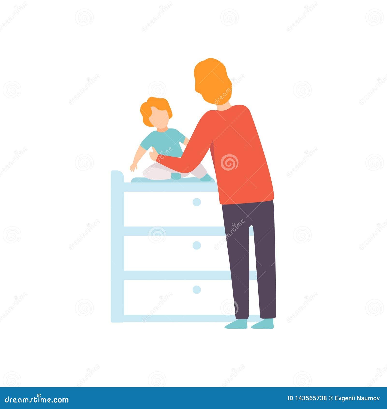 De Baby van vaderdressing his toddler op Veranderende Lijst, Ouder die Zijn Kind Vectorillustratie behandelen