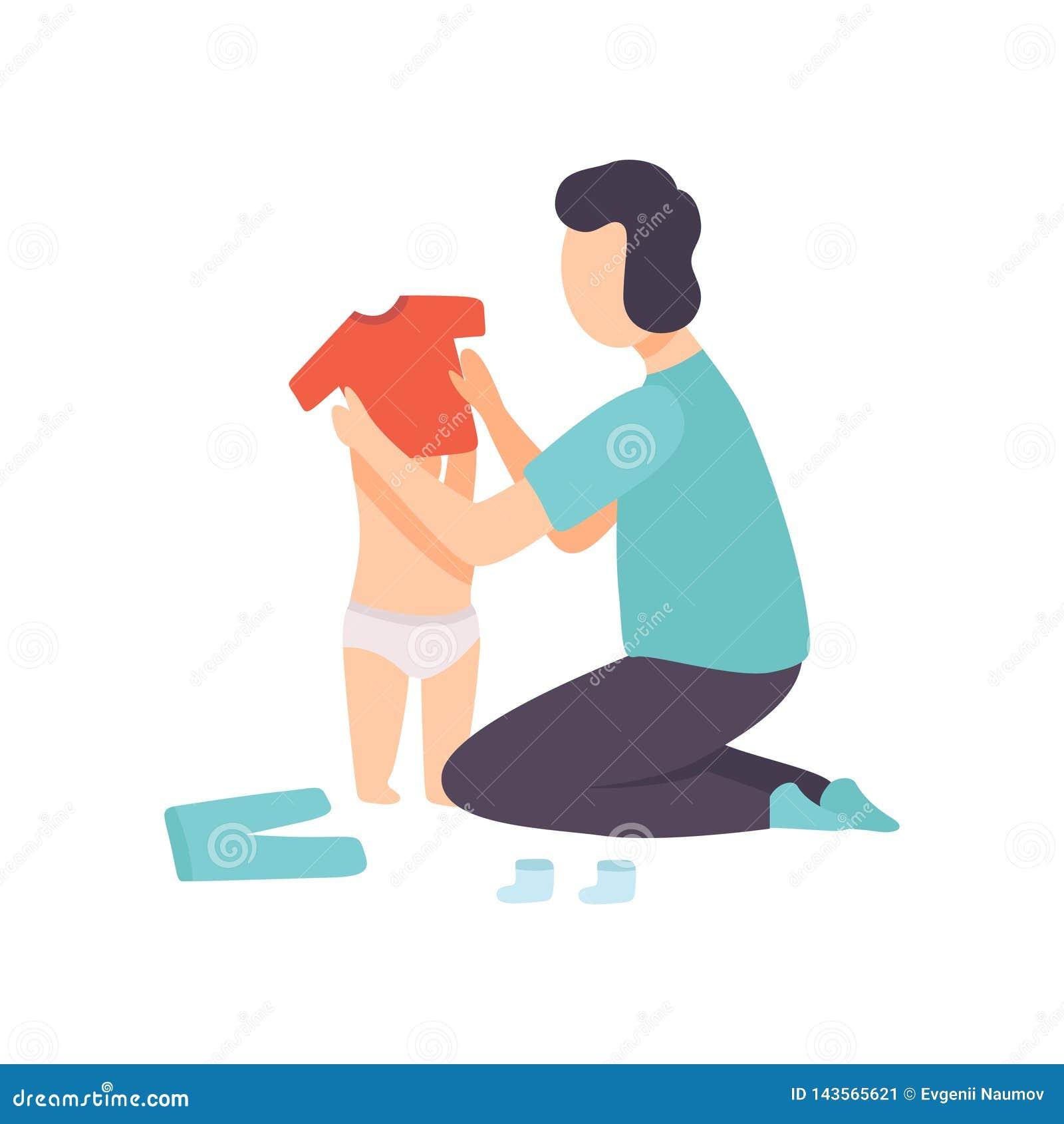 De Baby van vaderdressing his toddler, Ouder die Zijn Kind Vectorillustratie behandelen