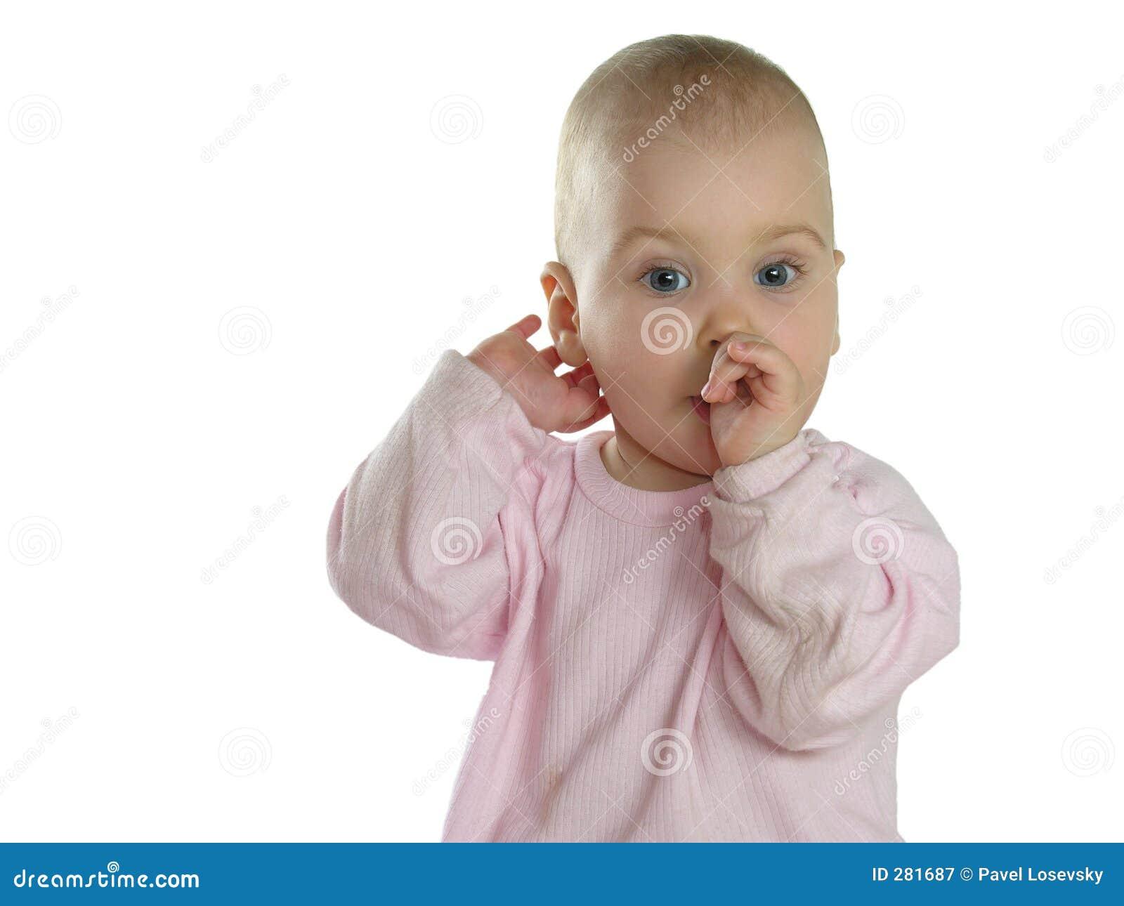 De baby zoogt geïsoleerde Vinger