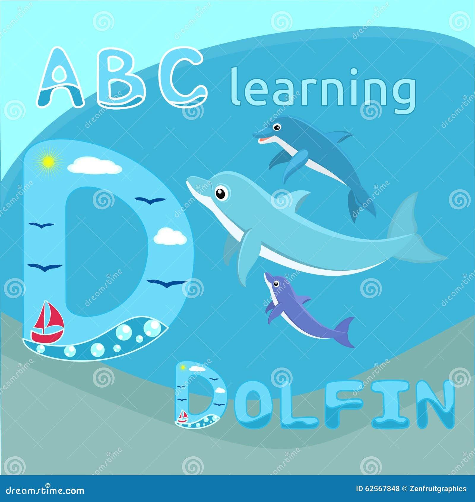 De babydolfijnen met van het de familie het Leuke beeldverhaal van de moederdolfijn Overzeese van de de dolfijn vectorillustratie