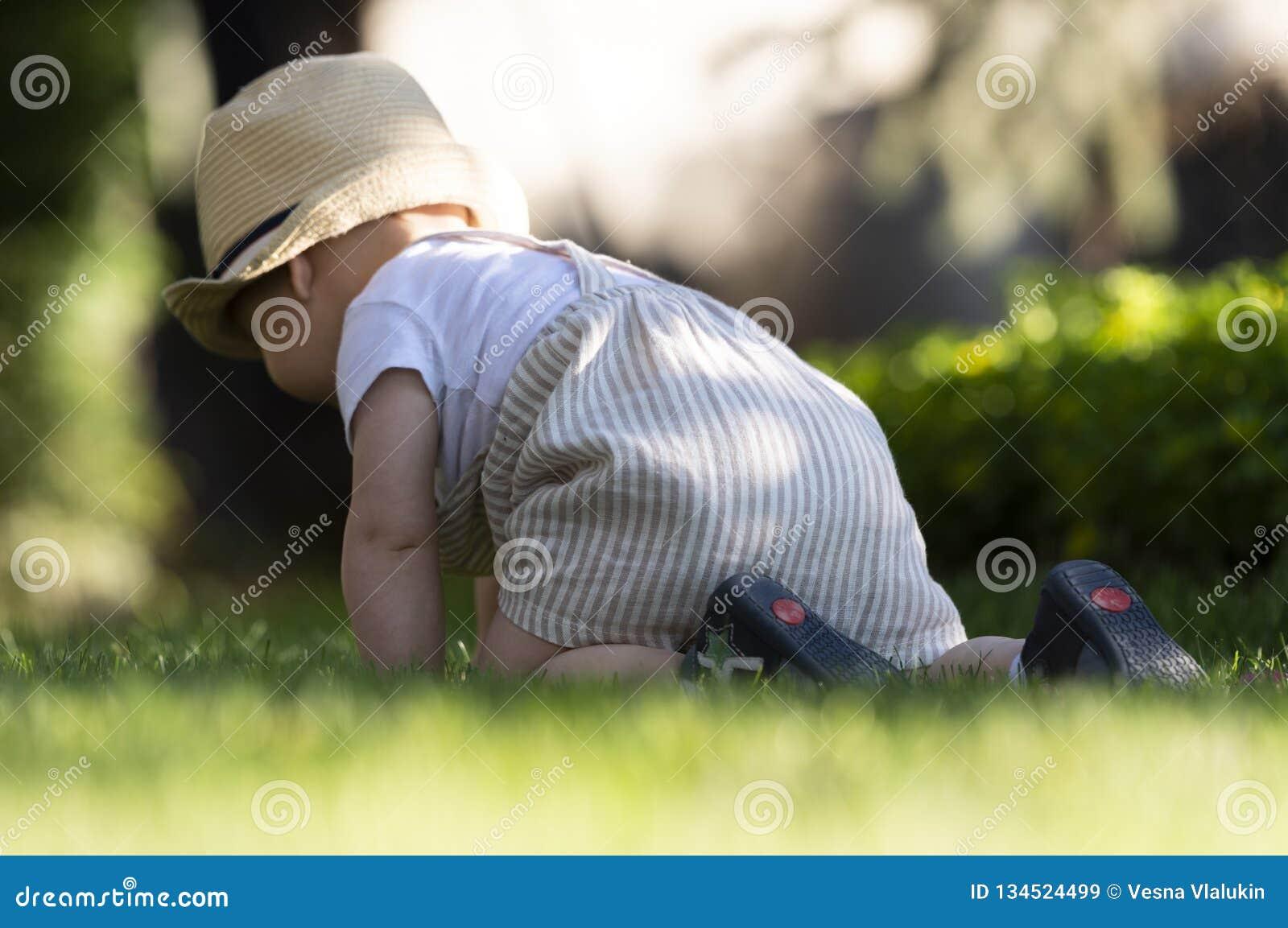 De babyjongen kruipt op het gras in de tuin op mooie de lentedag