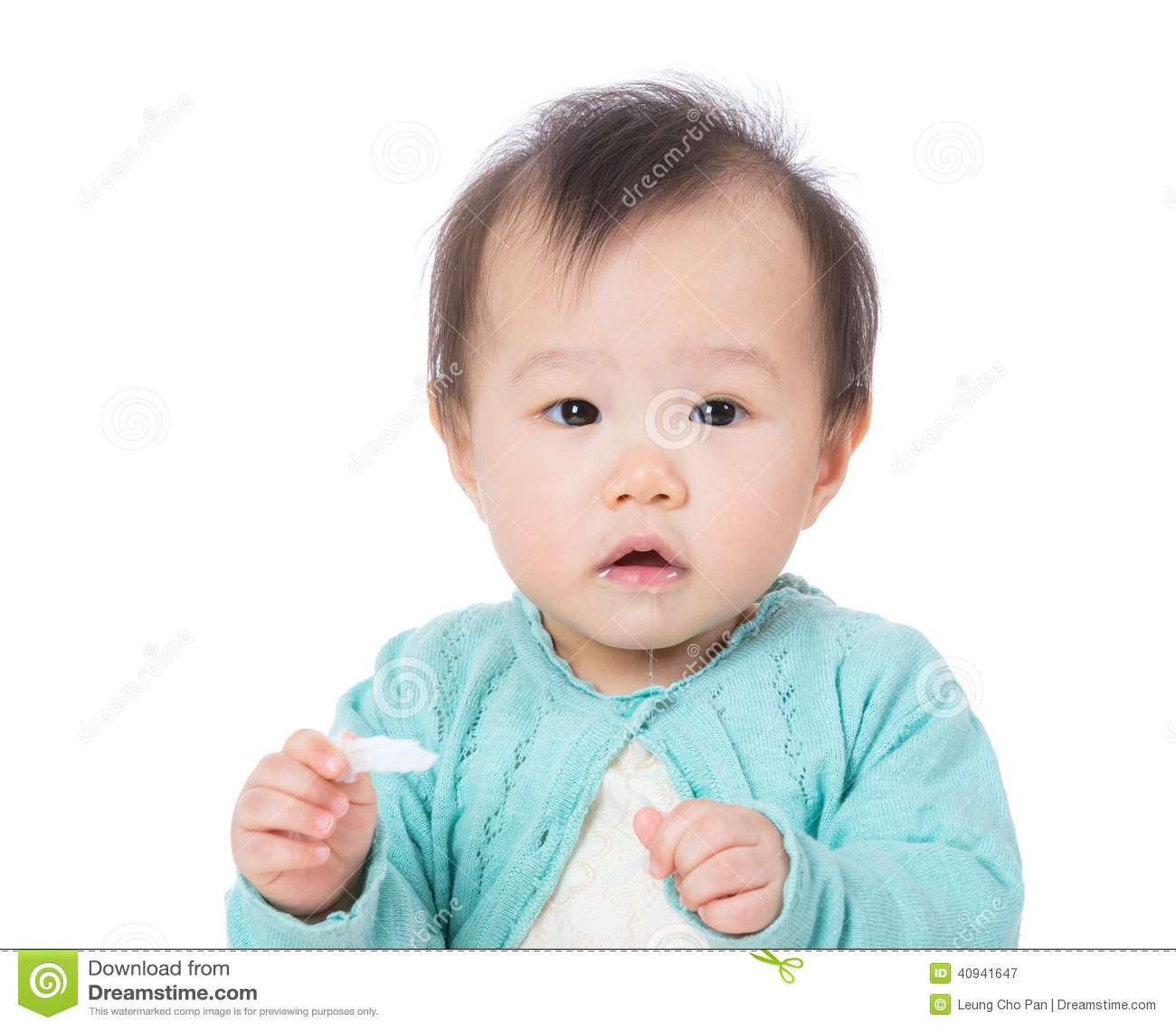 De babymeisje van Azië het kwijlen