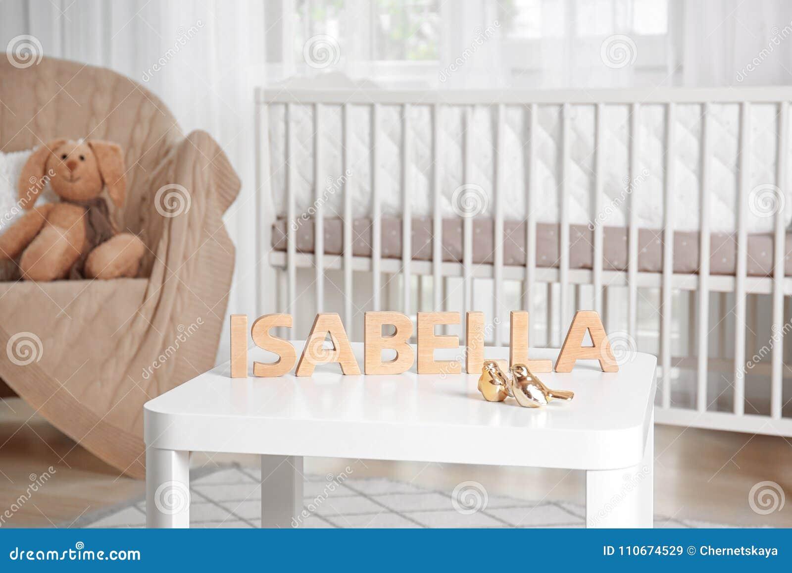 De babynaam ISABELLA stelde uit houten brieven op lijst samen