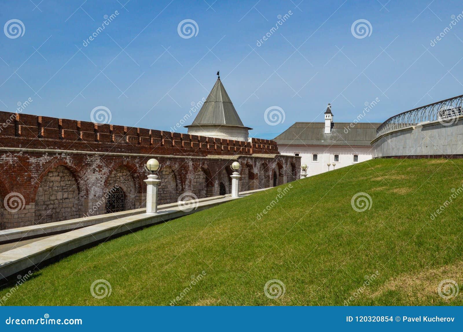 De bakstenen muur van het Kremlin