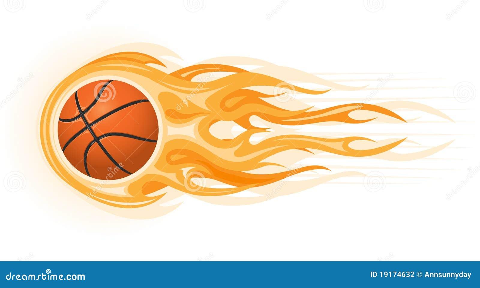 De Bal Van Het Basketbal In Vlam Vector Illustratie