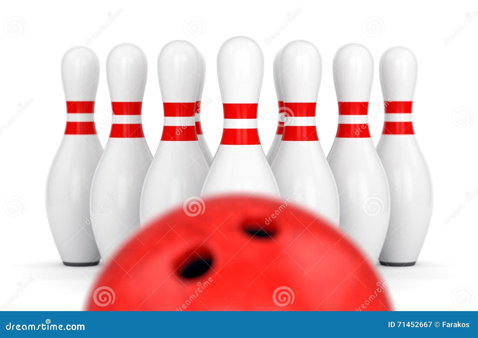 De bal van het kegelen en tien spelden stock illustratie afbeelding 71452667 - Sterke witte werpen en de bal ...