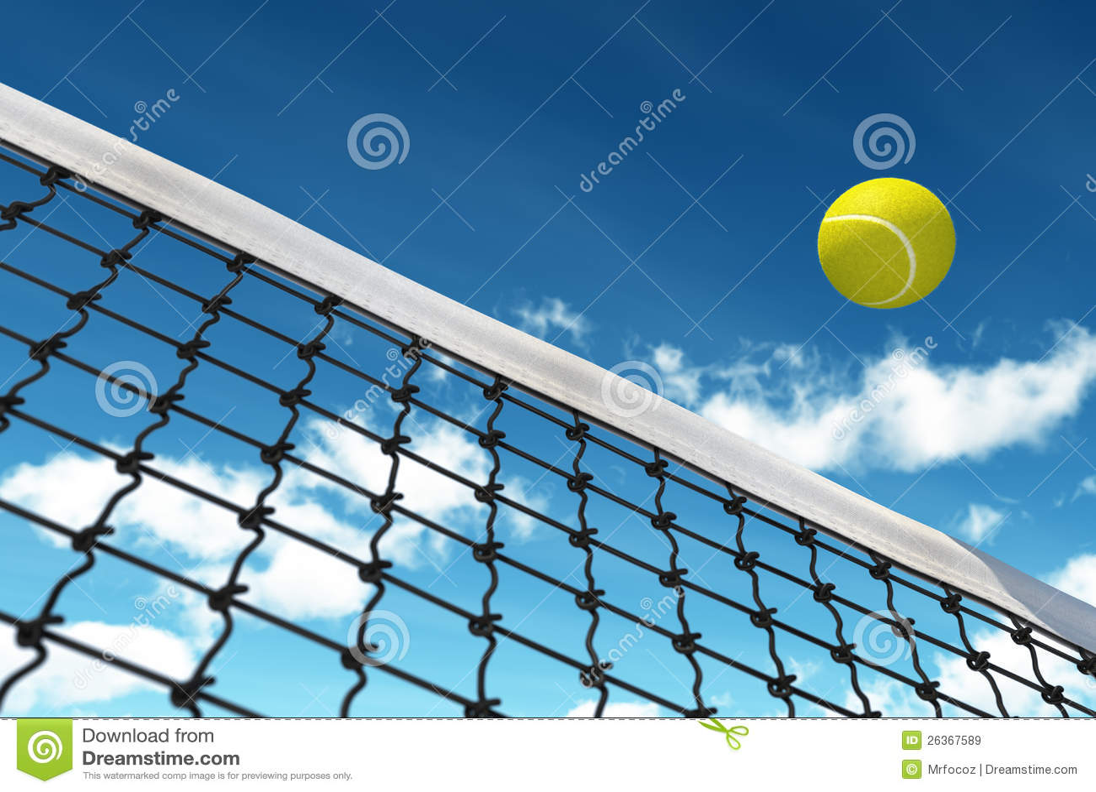 De Bal van het tennis over Netto