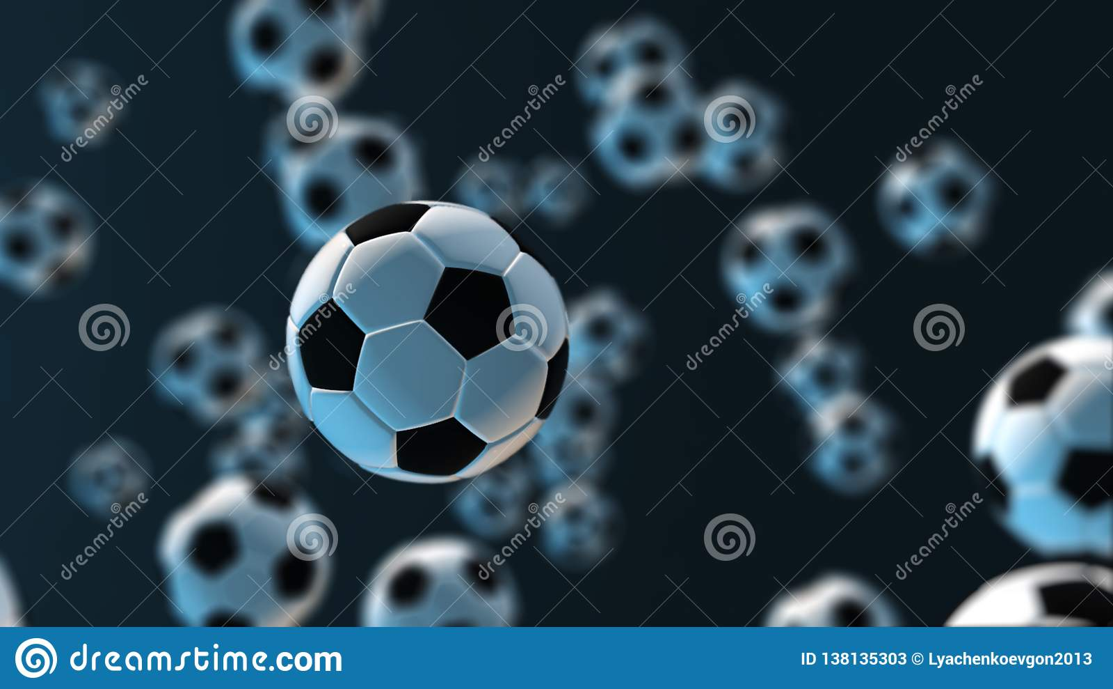 De bal van het verlichtingsvoetbal 3D Illustratie