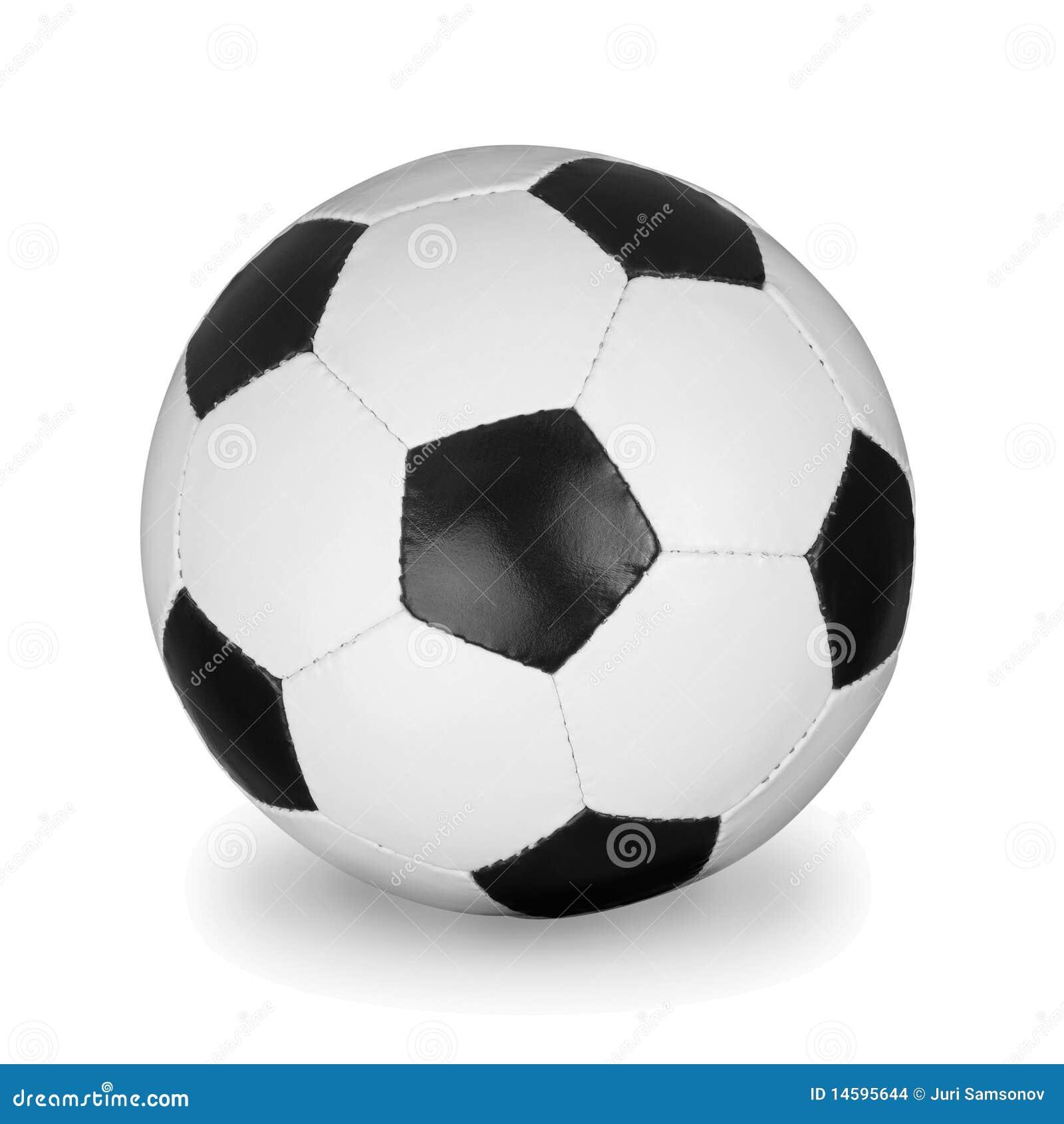 De bal van het voetbal die op de witte achtergrond wordt geïsoleerdT.