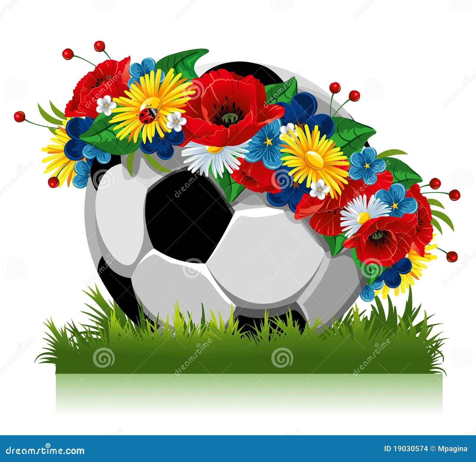 Stock Afbeeldingen: De bal van het voetbal in een kroon van bloemen