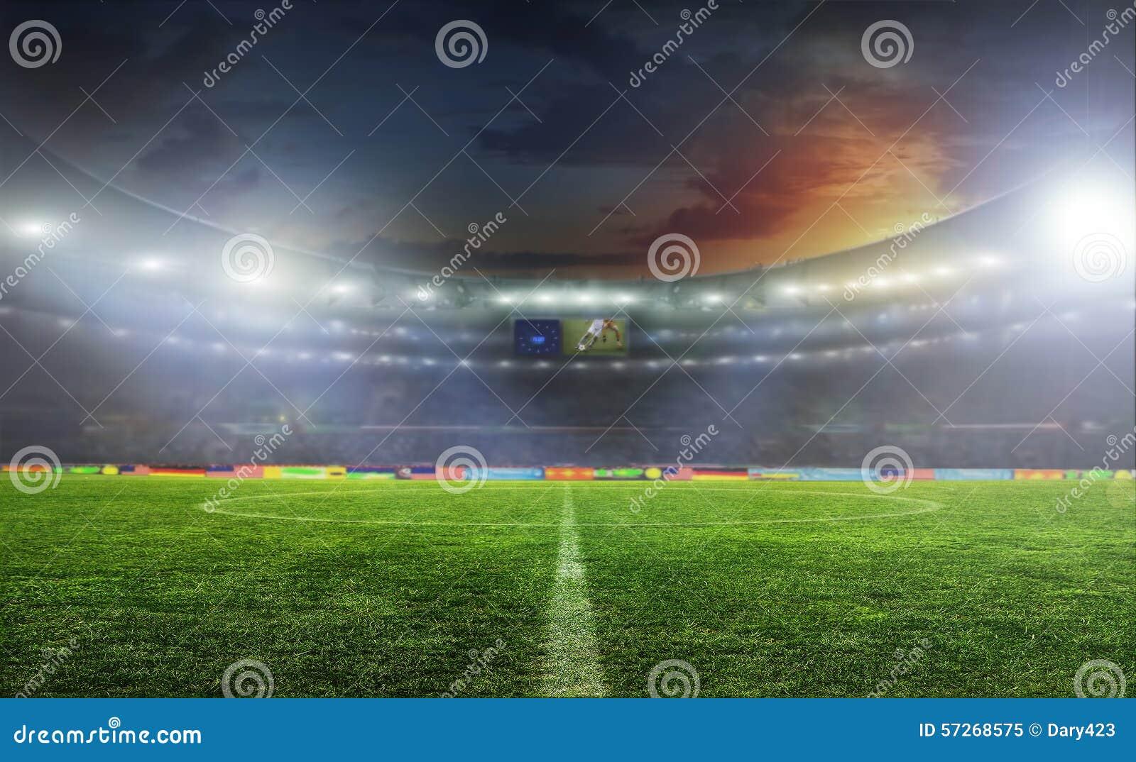 De bal van het voetbal op het gebied van stadion