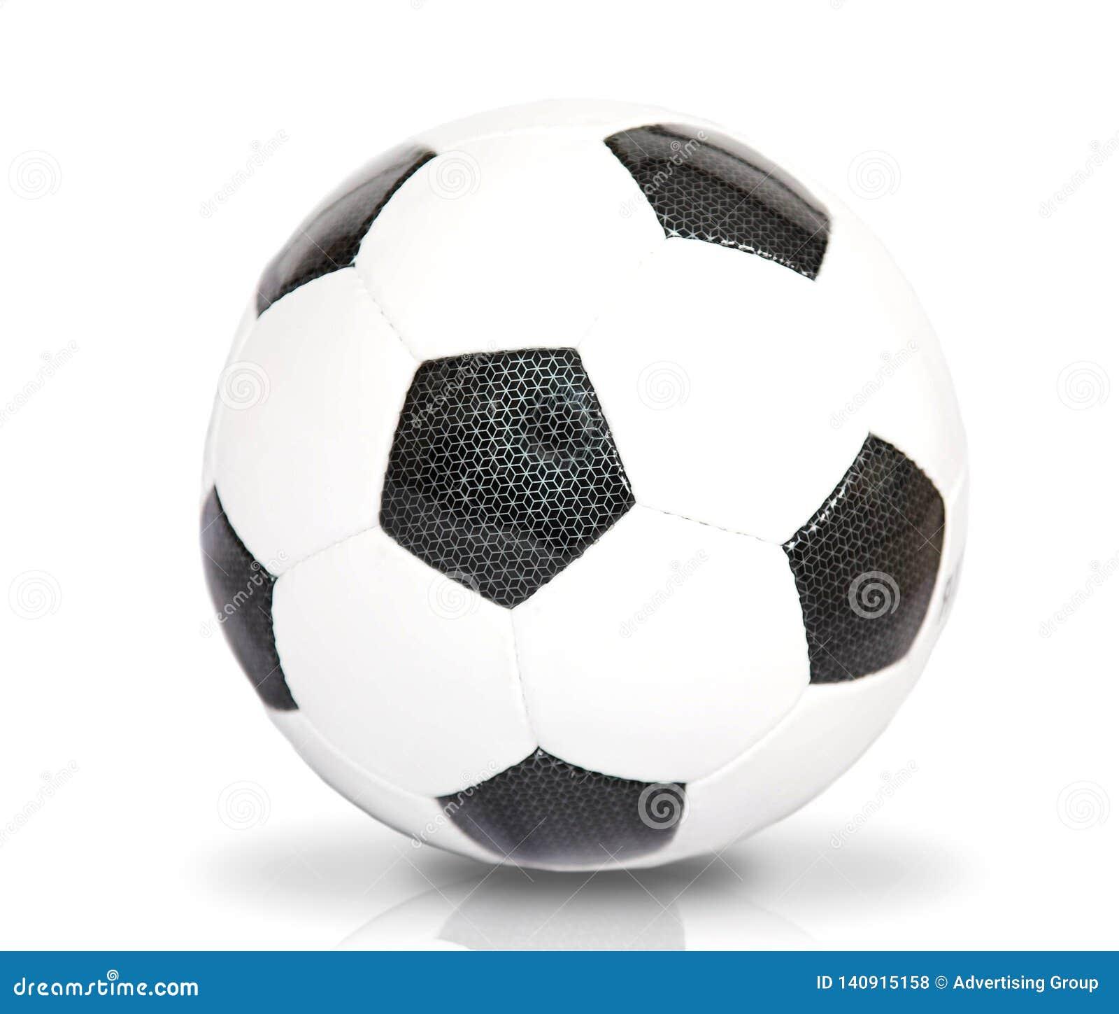De bal van het voetbal over wit