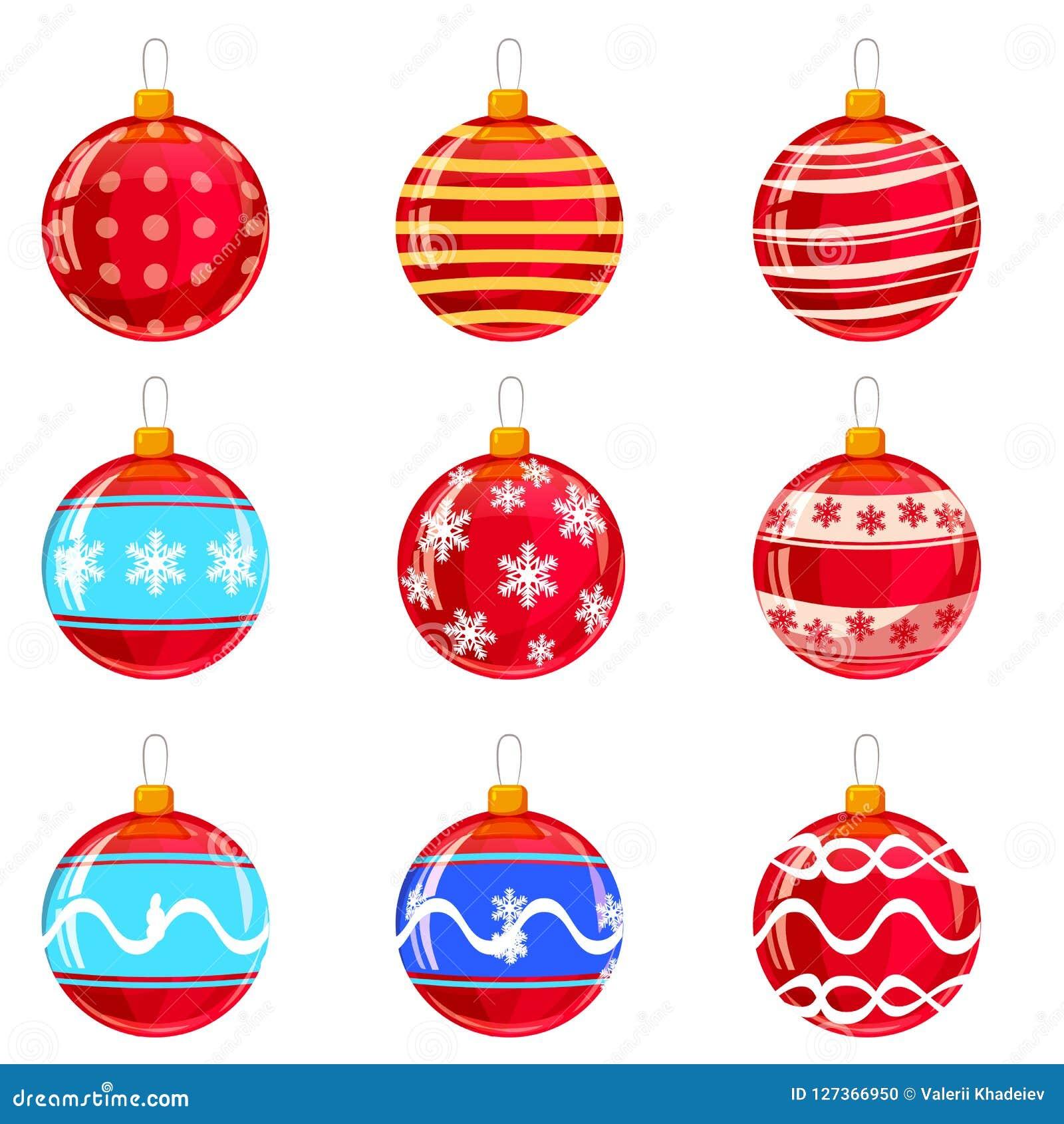 De ballen van Colorfullkerstmis met ornamenten, verschillende die kleuren, op wit worden geïsoleerd reeks Vector illustratie