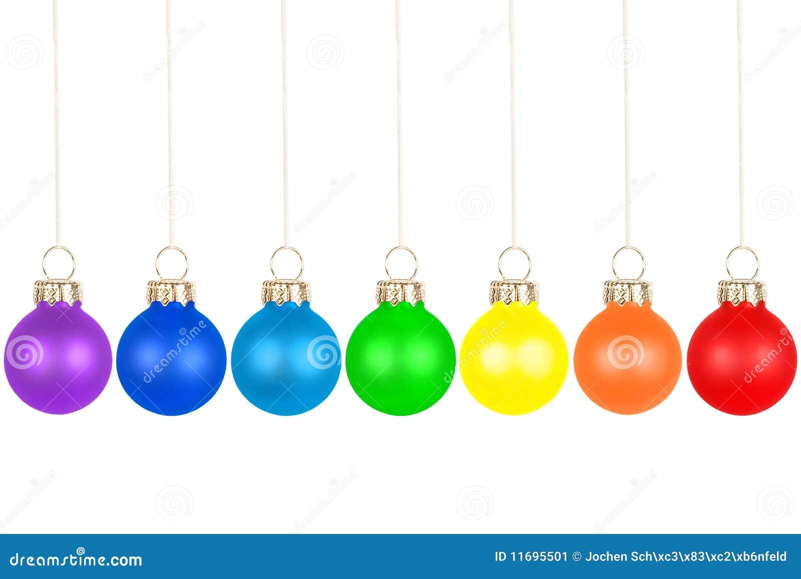De ballen van de kerstboom regenboogkleuren stock for Bolas de navidad baratas