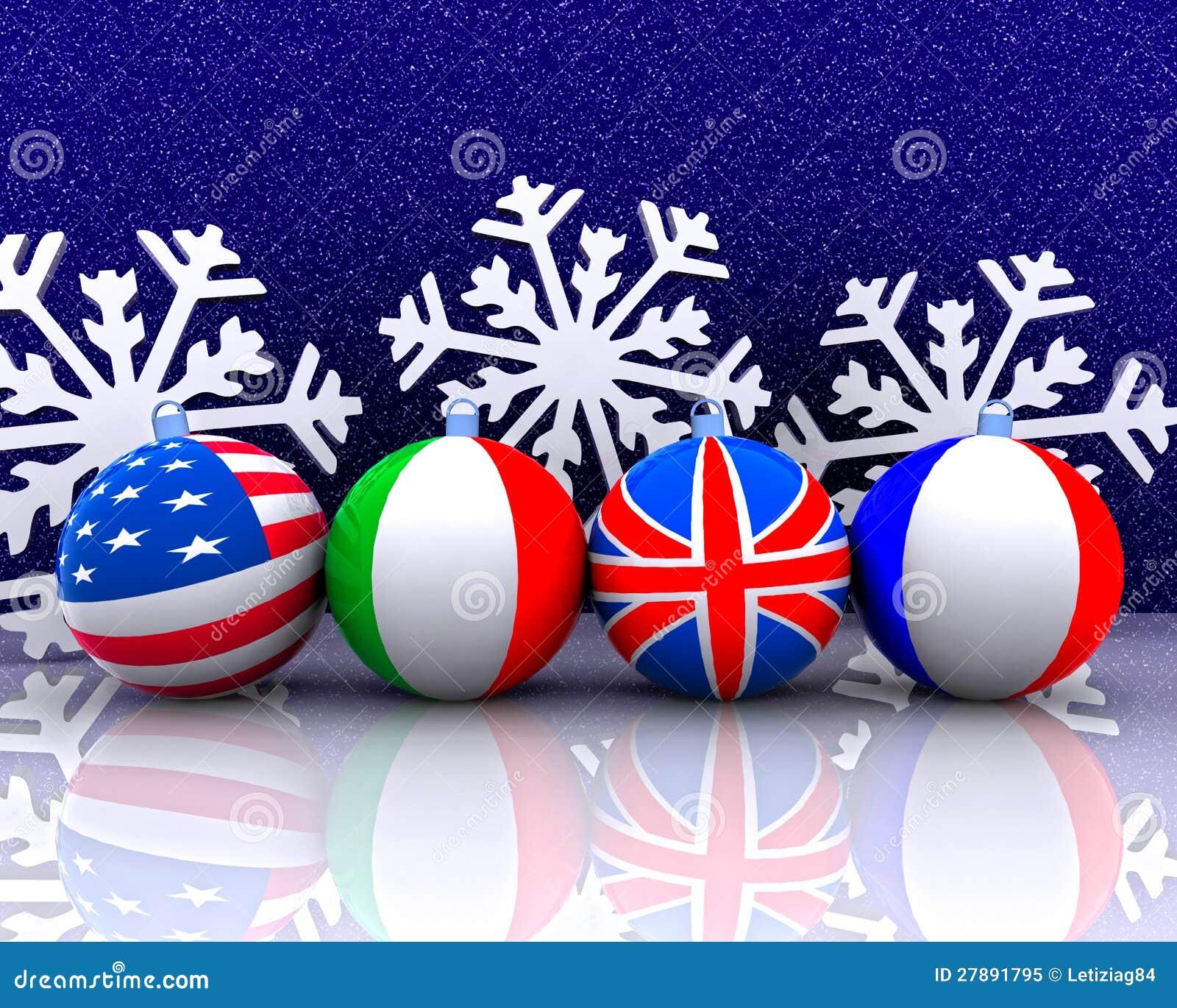 De ballen van Kerstmis met 3D vlag -