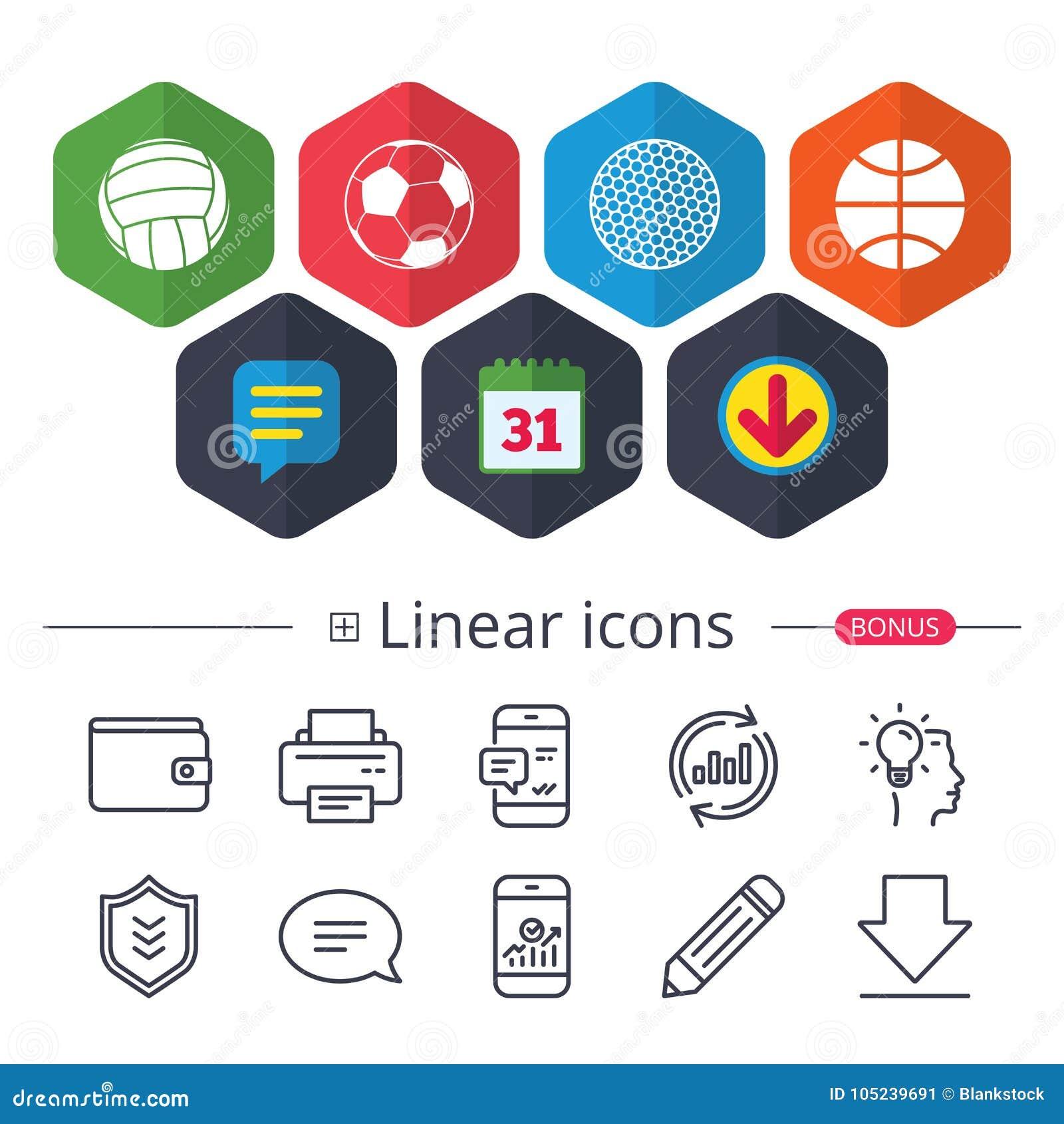 De ballen van de sport Volleyball, Basketbal, Voetbal