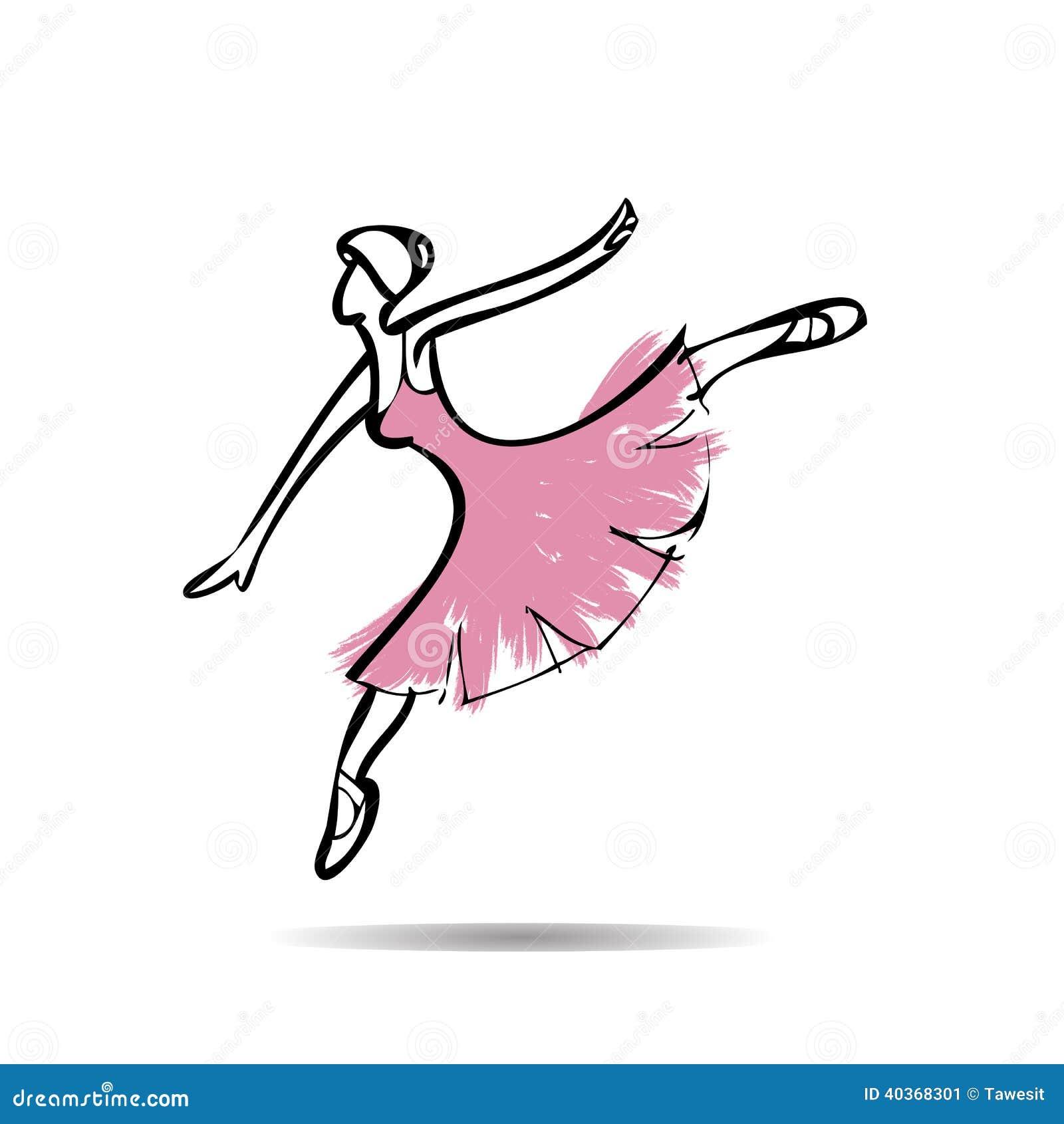 De Ballerina Voert Dansende Tekening Uit Stock Illustratie
