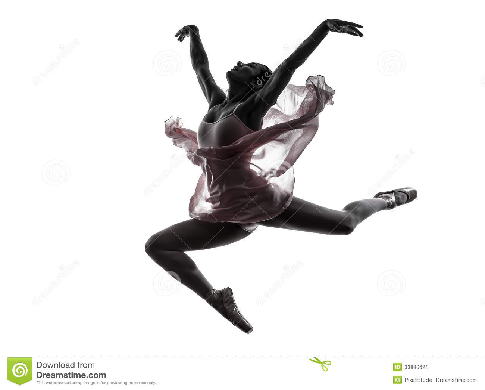 De balletdanser dansend silhouet van de vrouwenballerina