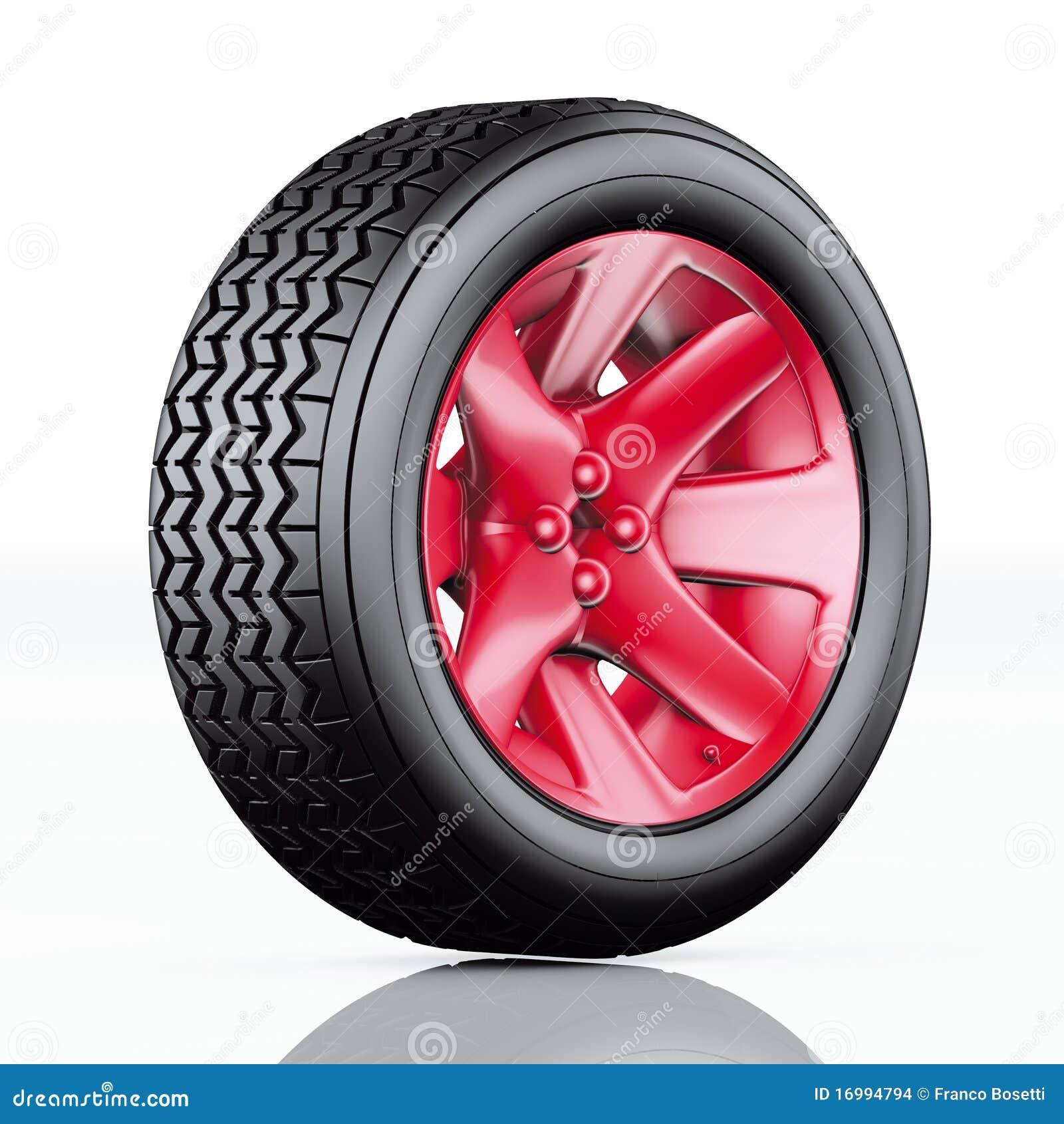 De band van de auto met rode rand