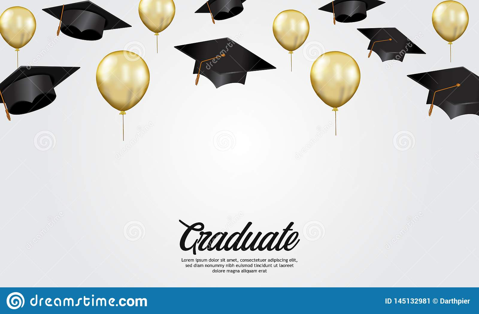 De banner van de de graduatiepartij van het onderwijsconcept met illustratie van GLB en gouden heliumballon