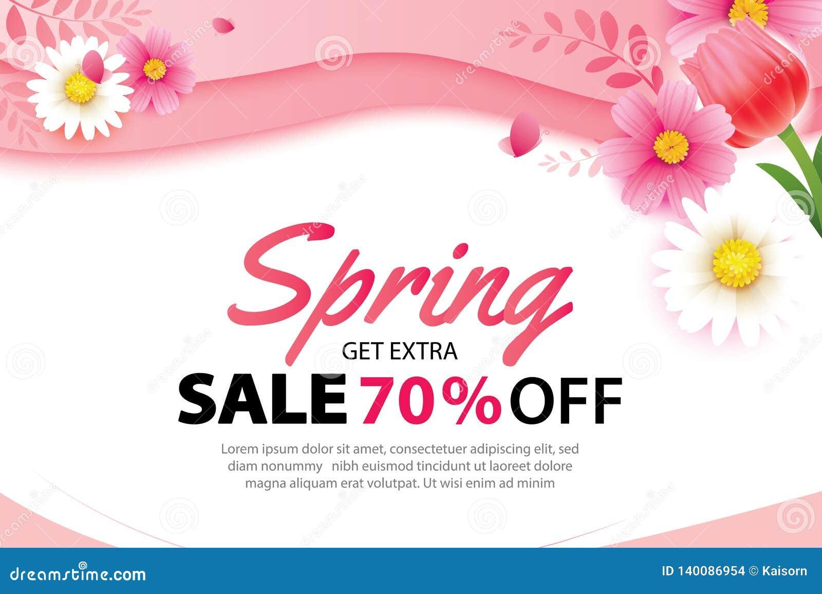 De banner van de de lenteverkoop met bloeiend bloemenmalplaatje als achtergrond Ontwerp voor reclame, vliegers, affiches, brochur