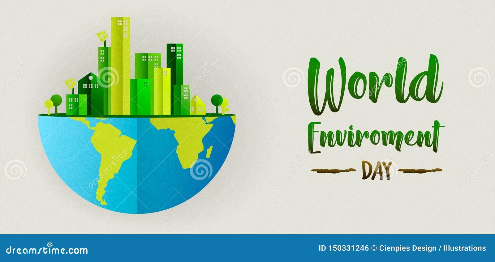 De banner van de milieudag van groene stad en aarde