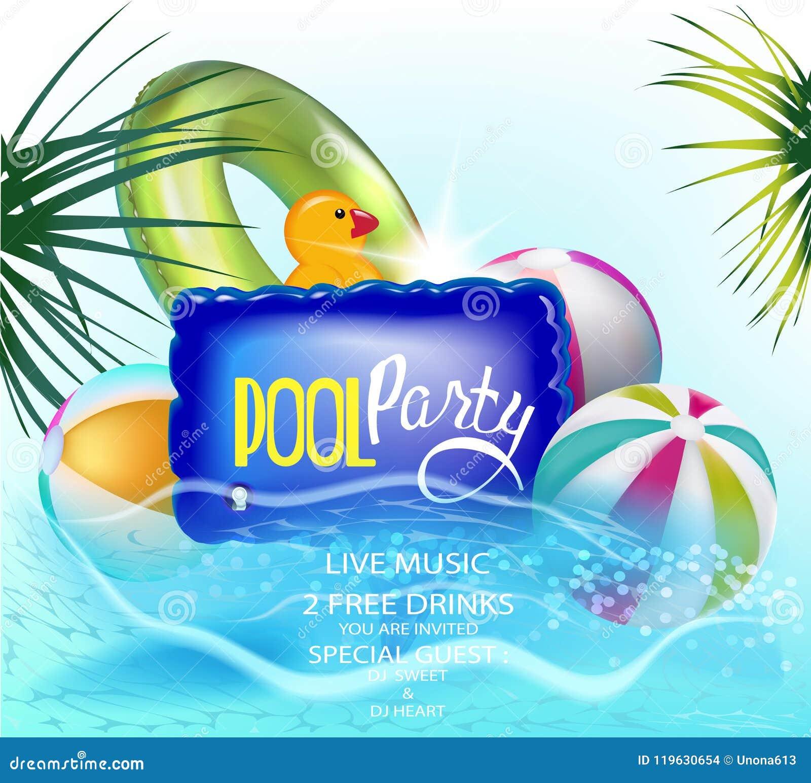 De banner van de poolpartij met opblaasbaar speelgoed in een water