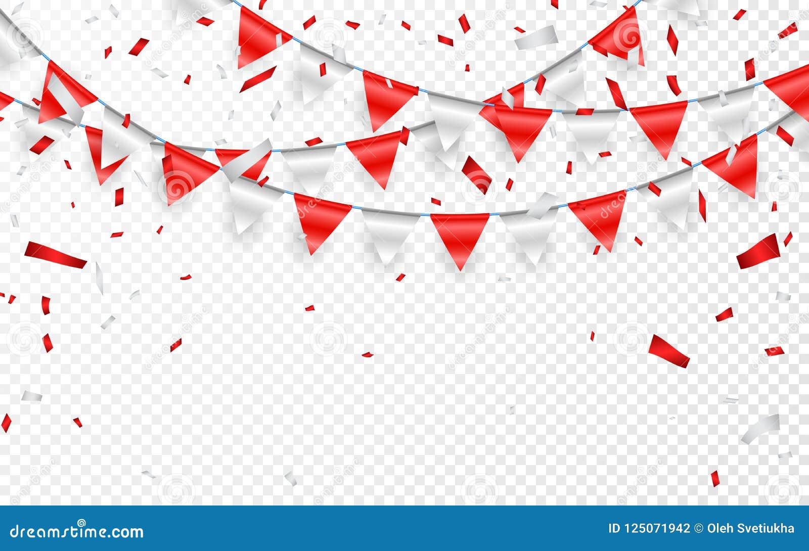 De banner van de vieringspartij Rode en zilveren folieconfettien en vlagslinger Vector illustratie